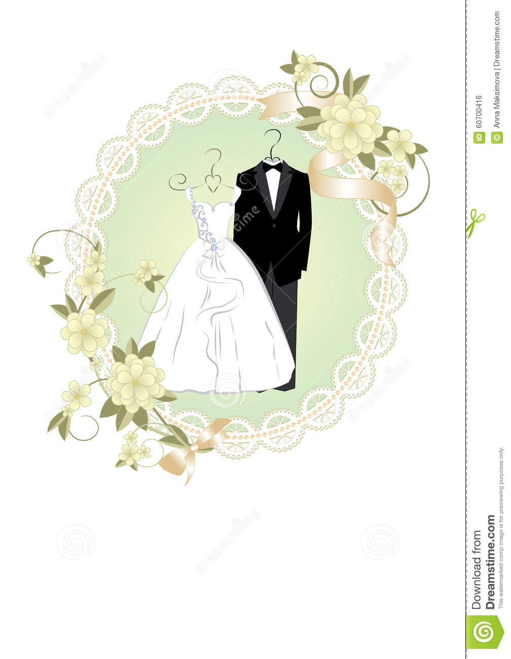 Wedding Invitation With Bride And Groom Dress Stock Vector