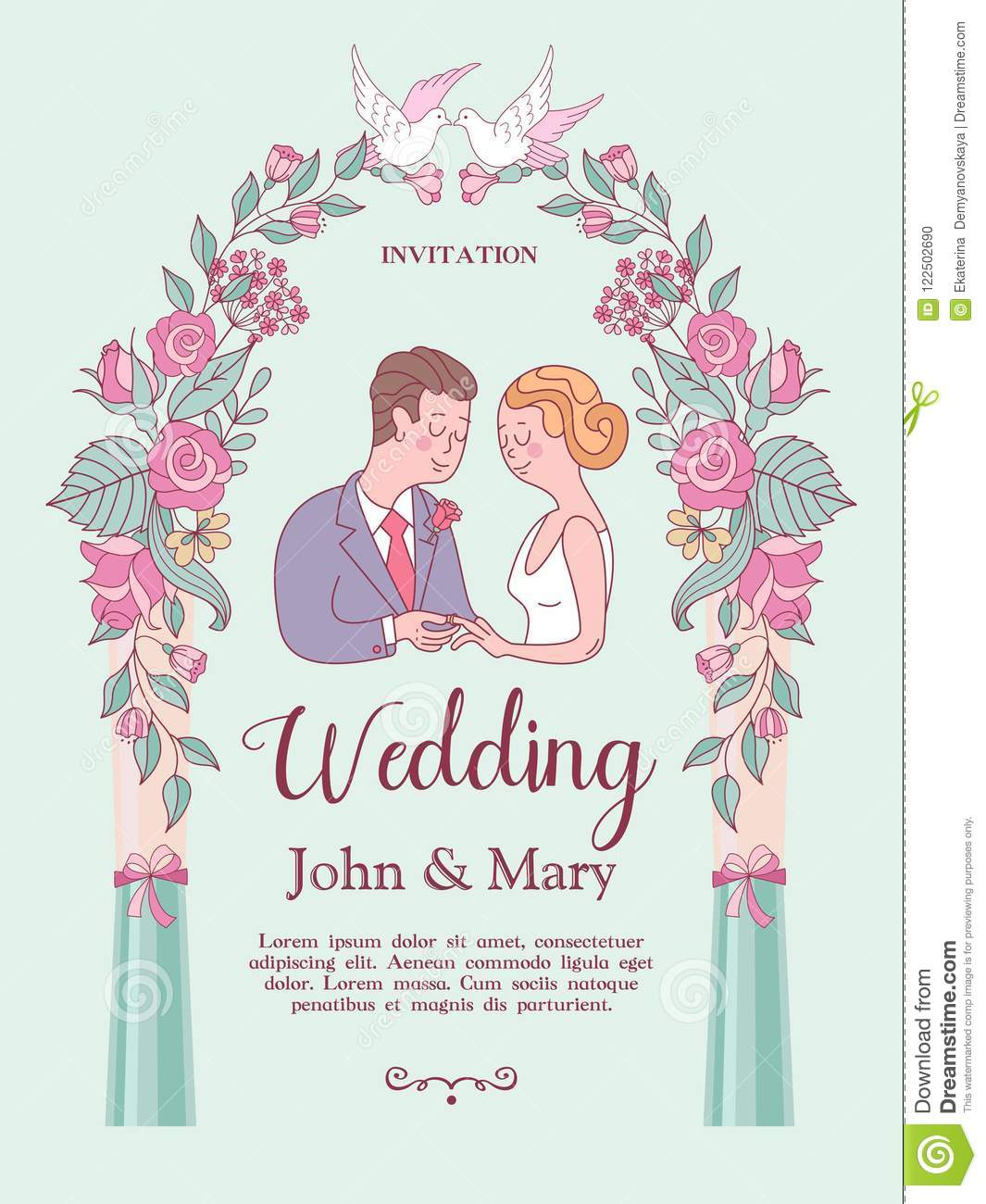 Wedding Invitation. Lovely Wedding Card With The Bride And Groom ...