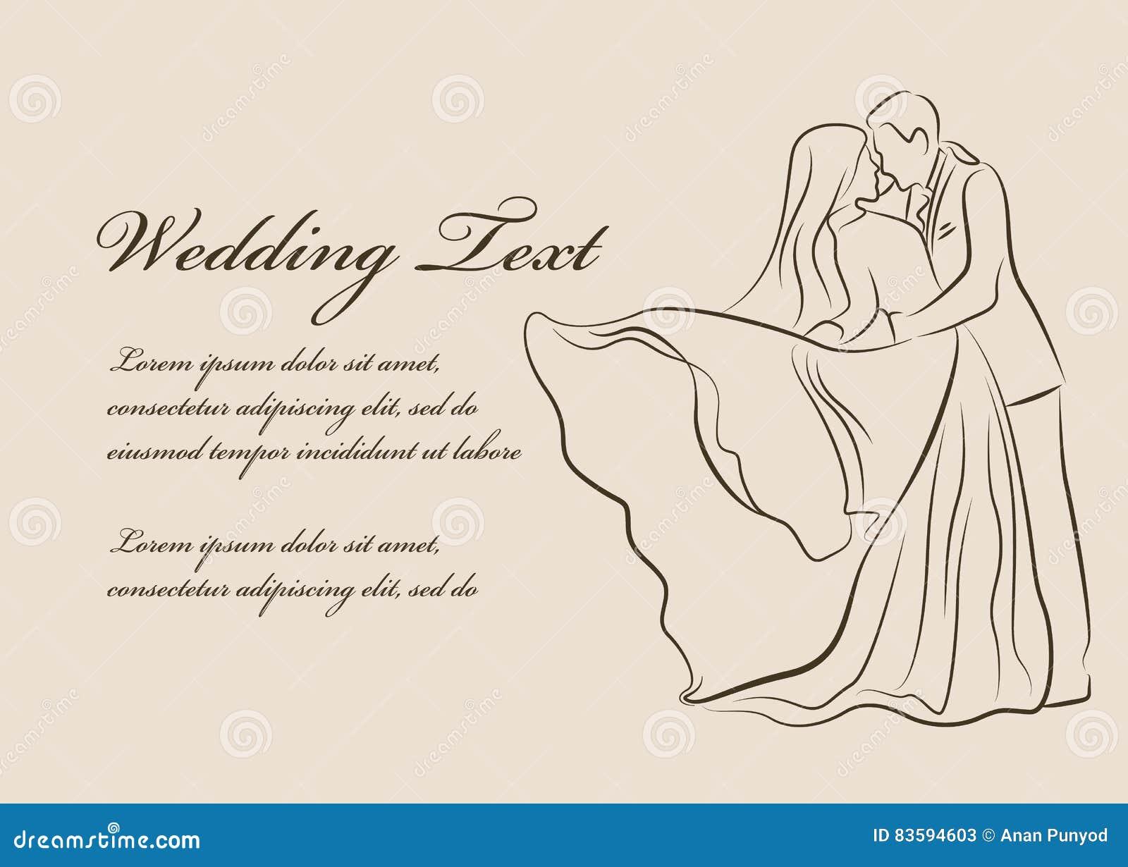 Wedding Invitation - Bride And Groom Are Kissing Line Border Vector ...