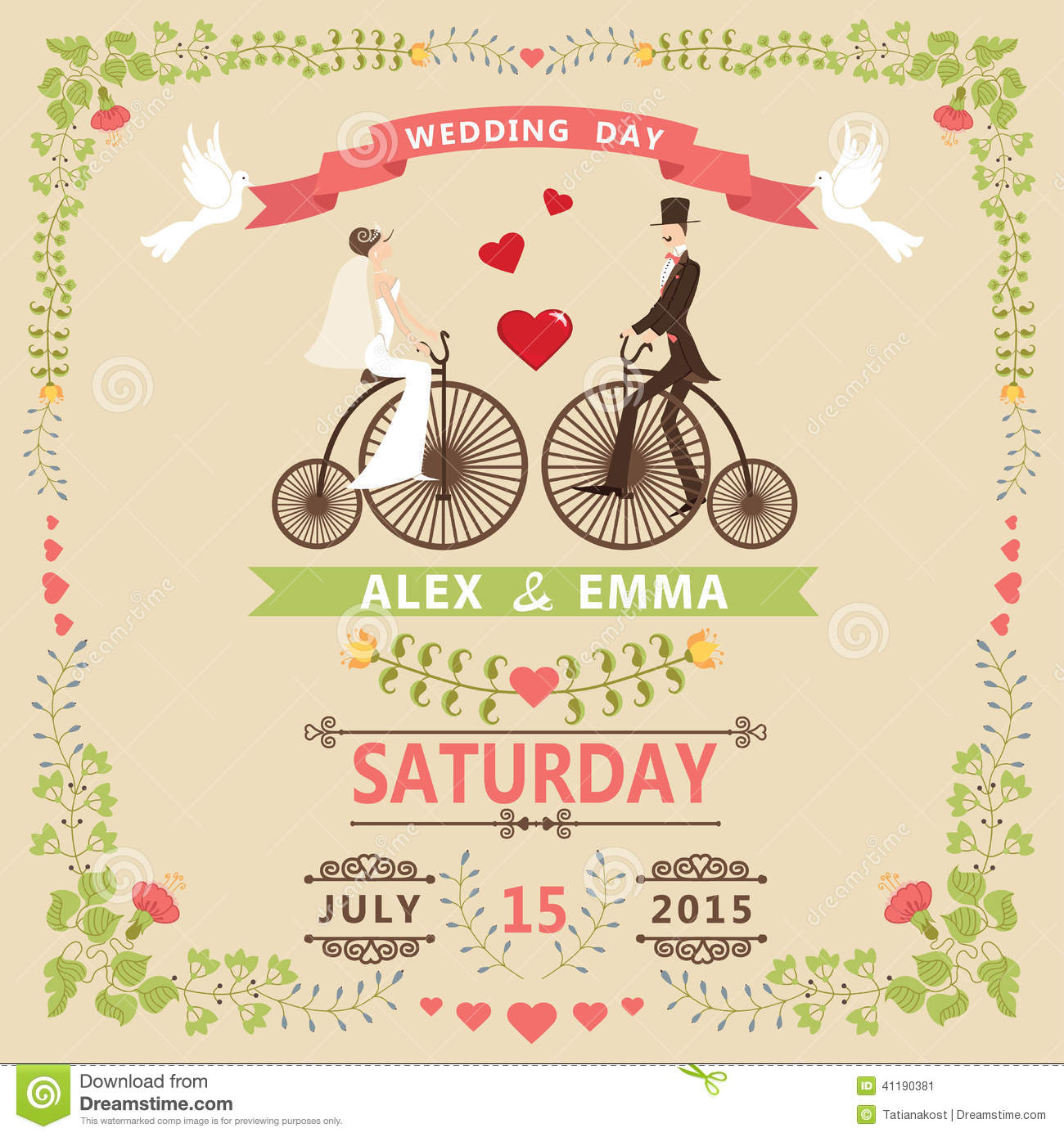 Wedding Invitation With Bridegroomretro Bicyclefloral Frame Stock