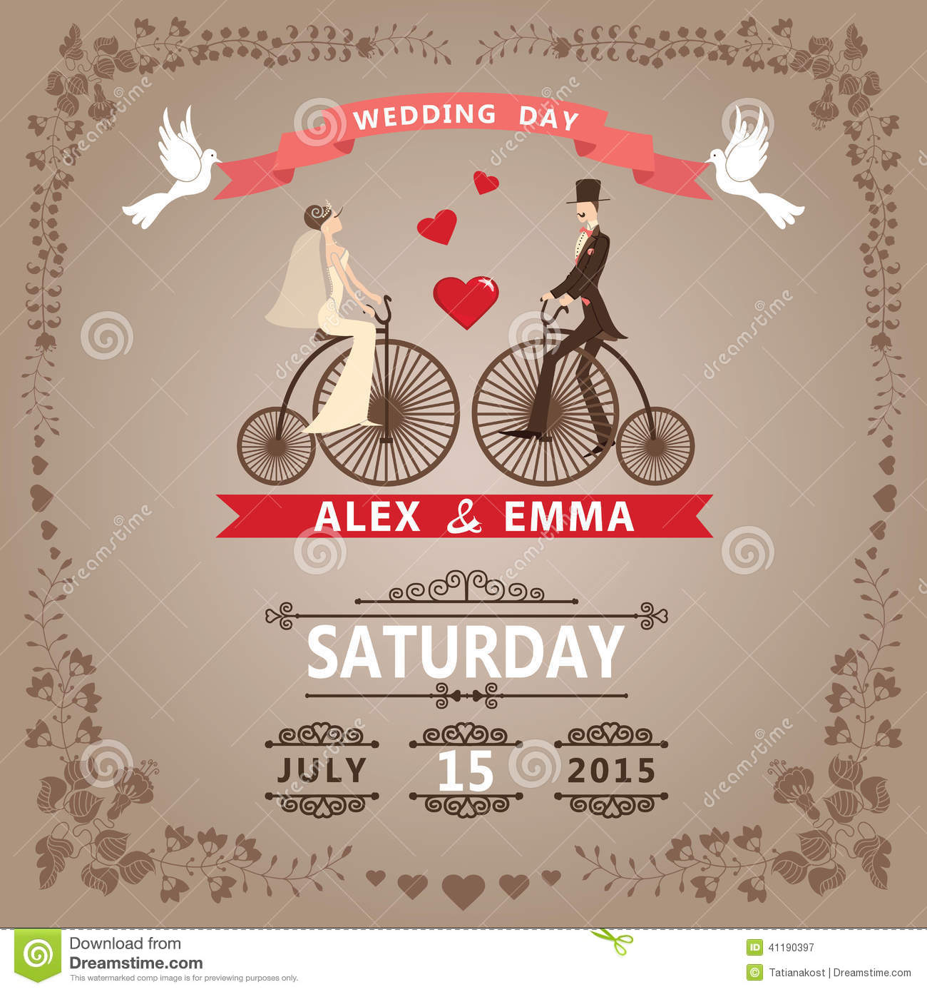 Wedding Invitation With Bride, Groom,retro Bicycle, Floral Frame ...