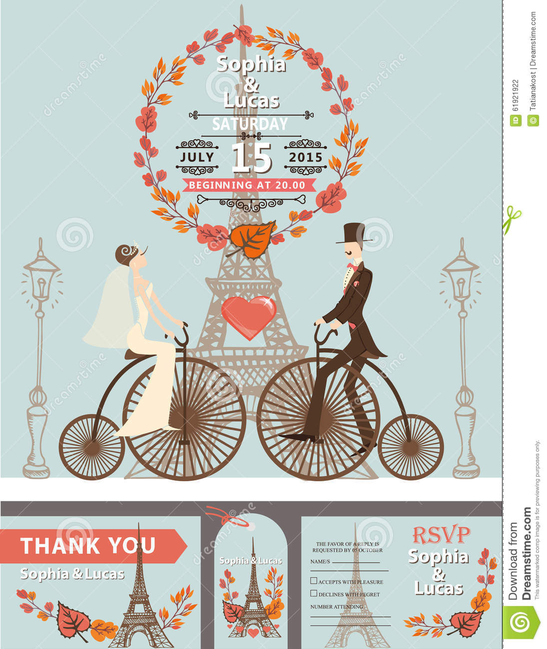 Wedding Invitation.Wreath,Bride,groom,retro Cartoon Vector ...