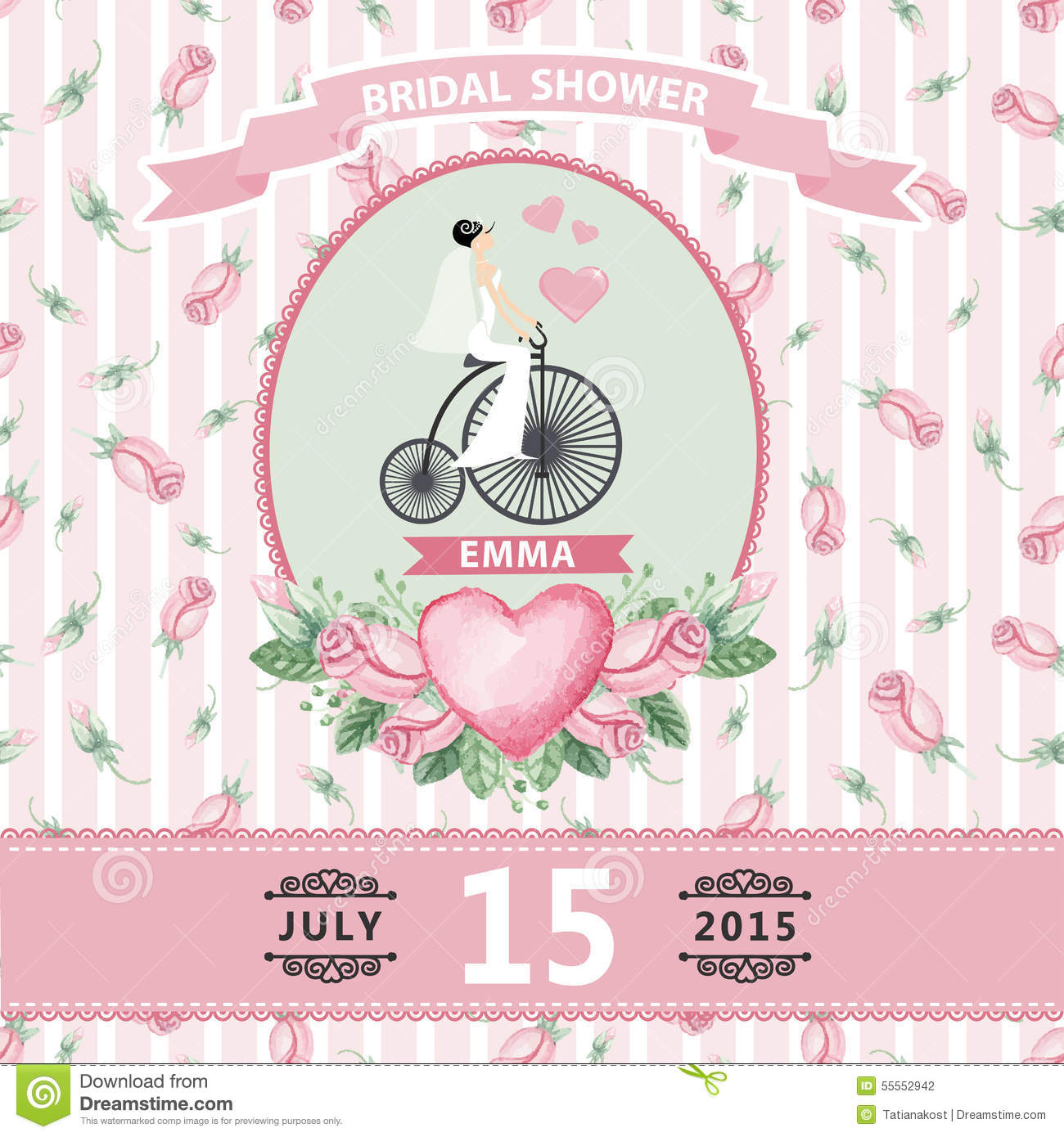 retro wedding invitationbridal shower design template with watercolor roses budbouquet retro bicycledecorative hand drawing floral decorlabel ribbons