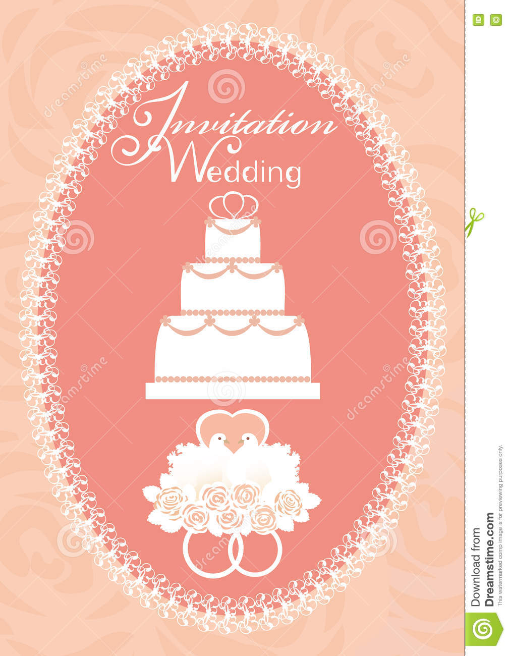 Wedding Invitation With Cake, Doves And Wedding Rings Stock Vector ...