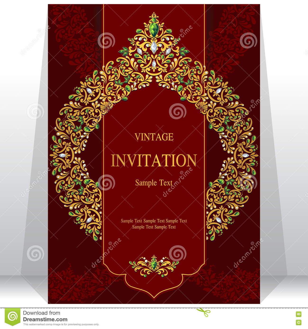 Wedding Invitation Or Card With Abstract Background Stock
