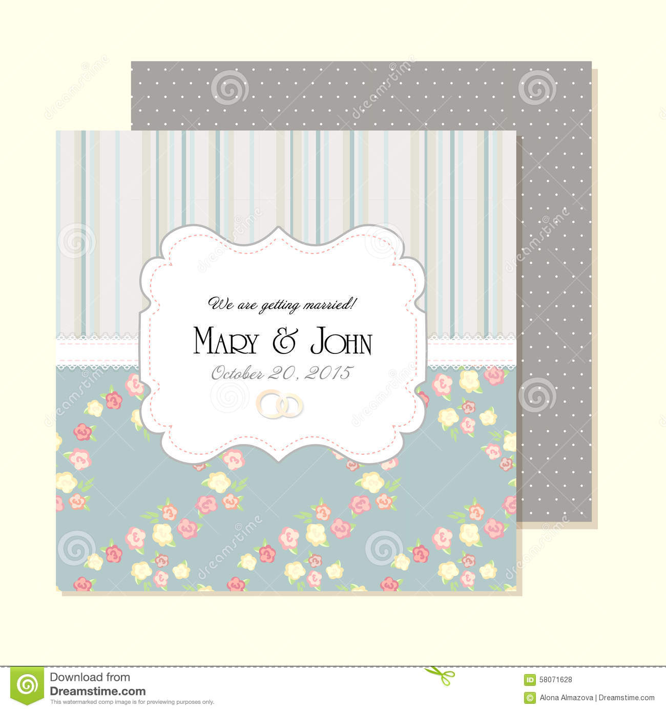 Wedding Invitation Card With Abstract Floral Stock Vector