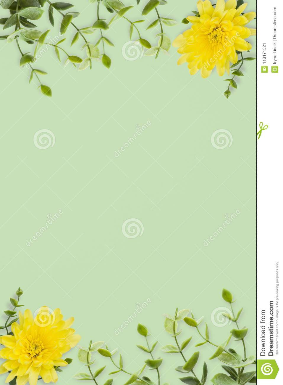 Wedding Invitation Or Card With Abstract Floral Background. Yellow ...