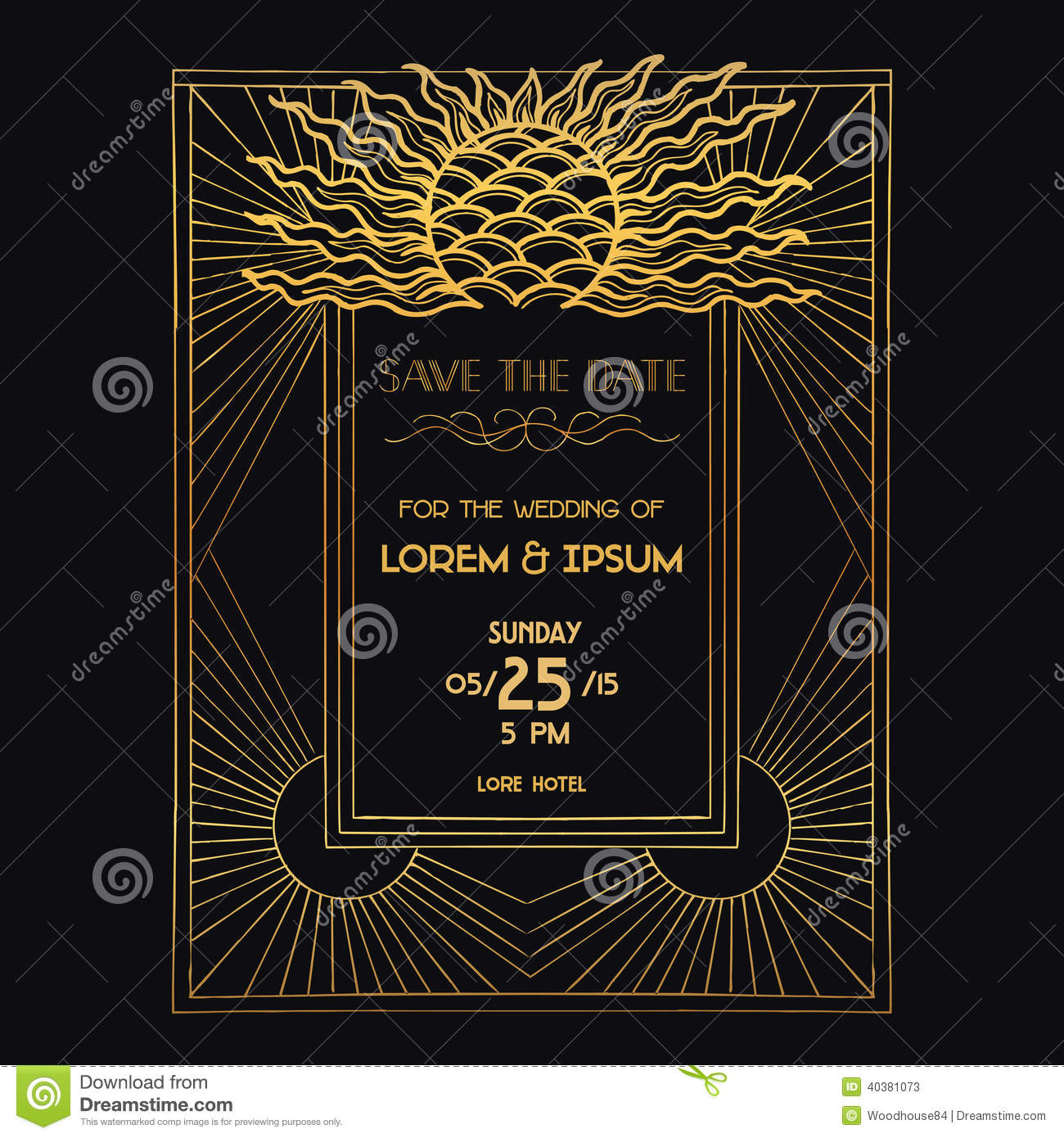 wedding invitation card art deco style stock photography 42135344. Black Bedroom Furniture Sets. Home Design Ideas