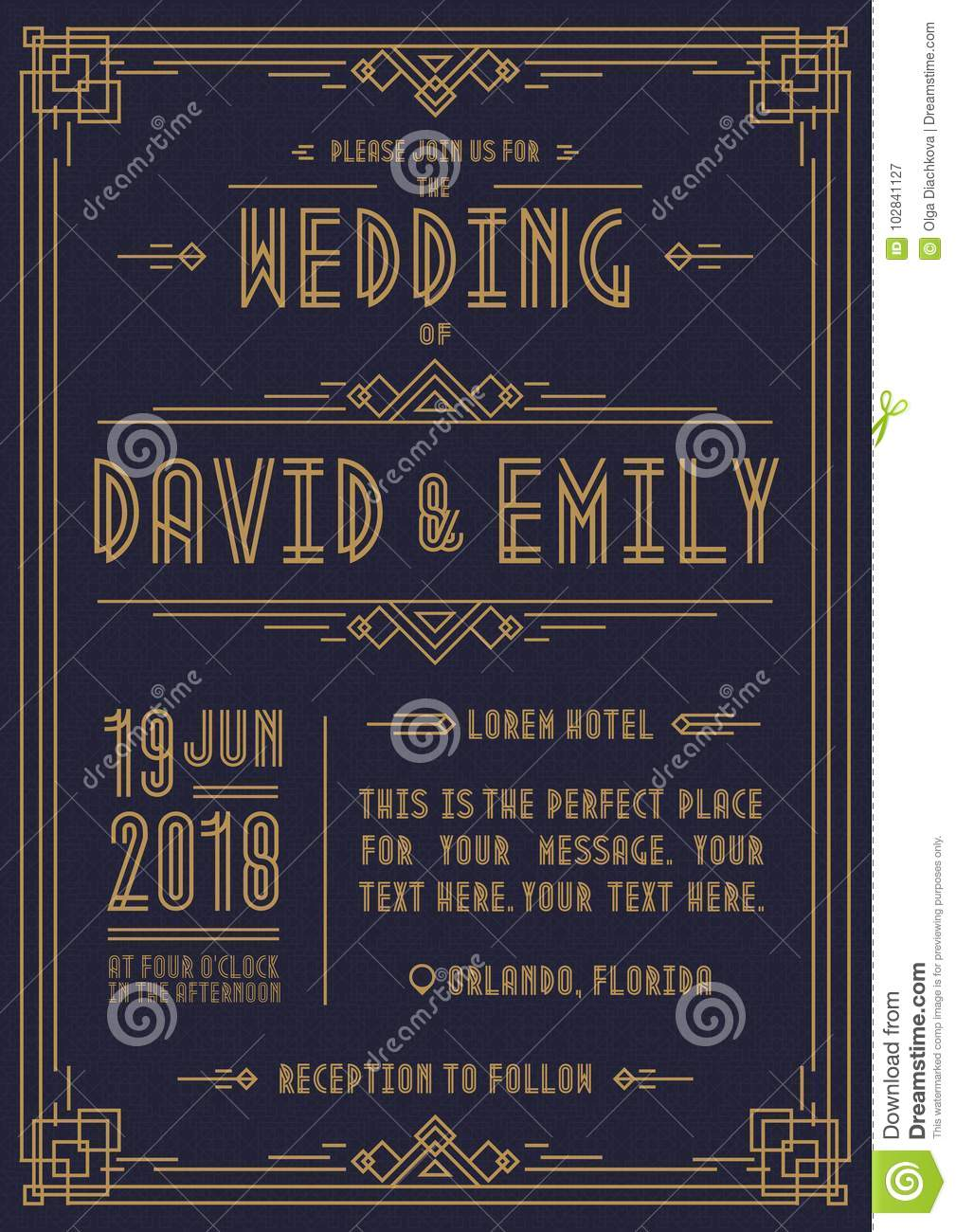 wedding invitation card art deco style gold color on cyan background