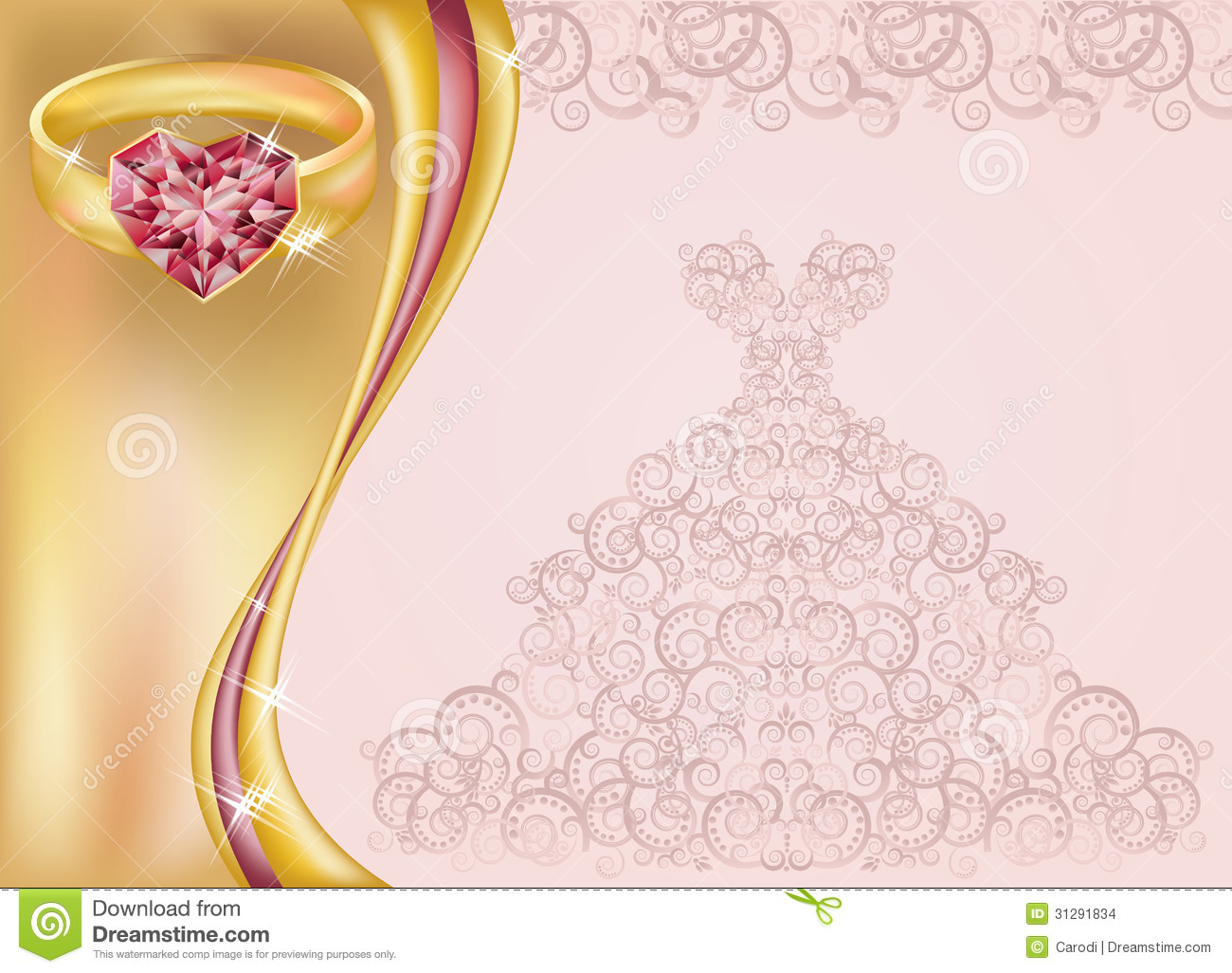 Wedding invitation card with bride dress and golden ring, vector ...