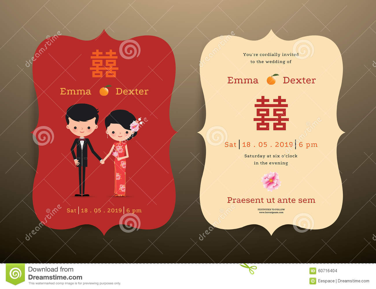 Wedding Invitation Card Chinese Cartoon Bride And Groom Stock Vector