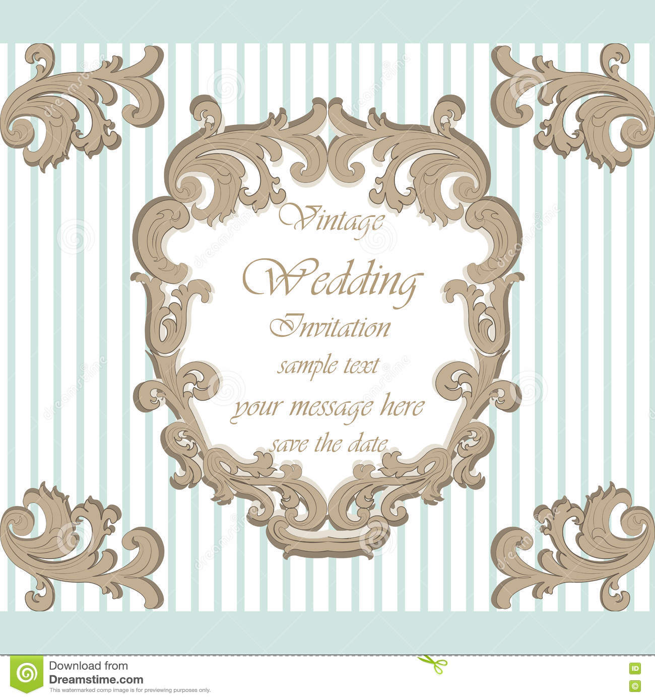 Wedding Invitation Card With Classic Royal Ornament Stock Vector