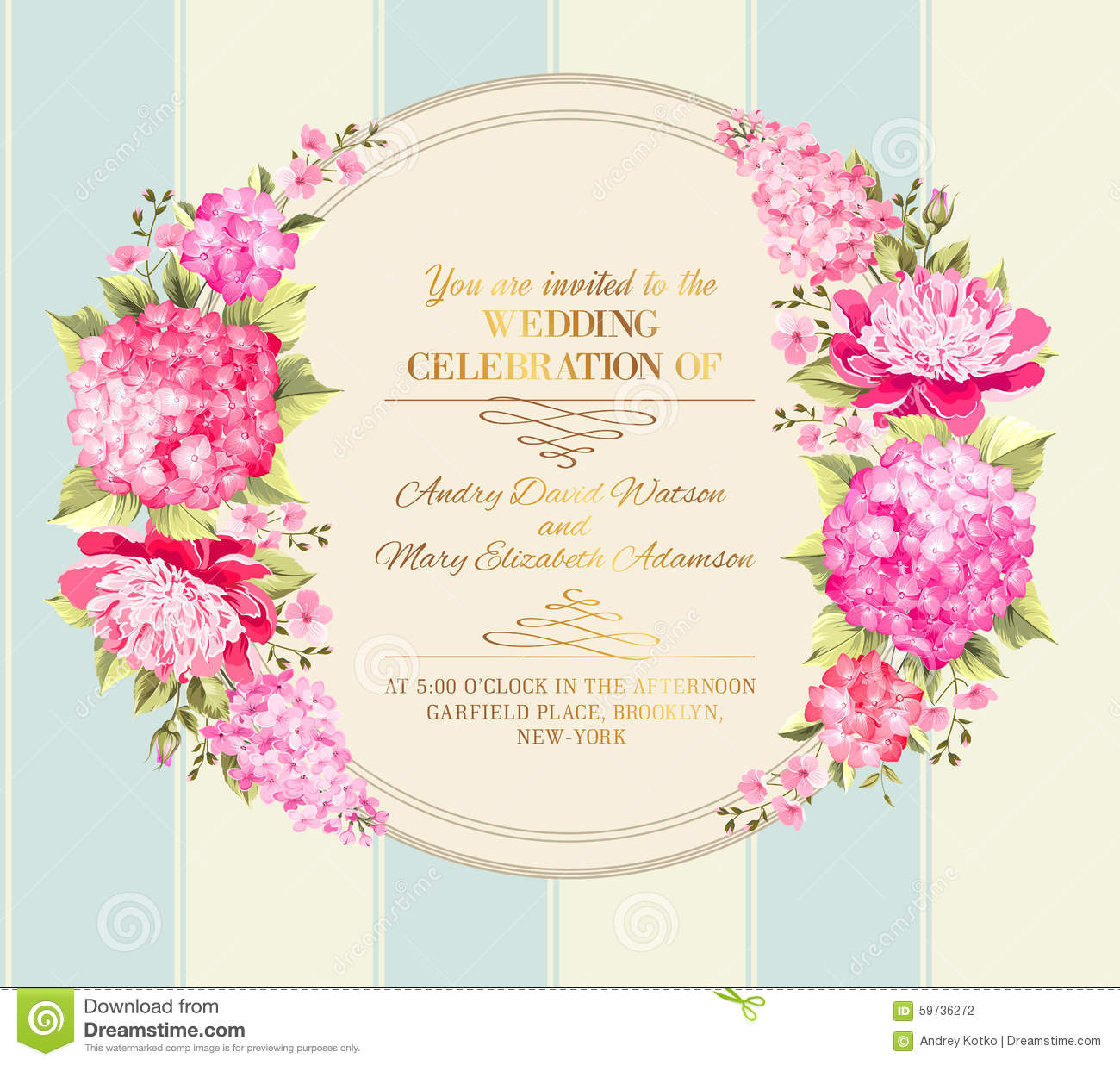 Wedding Invitation Card Of Color Flowers Vector Stock Vector