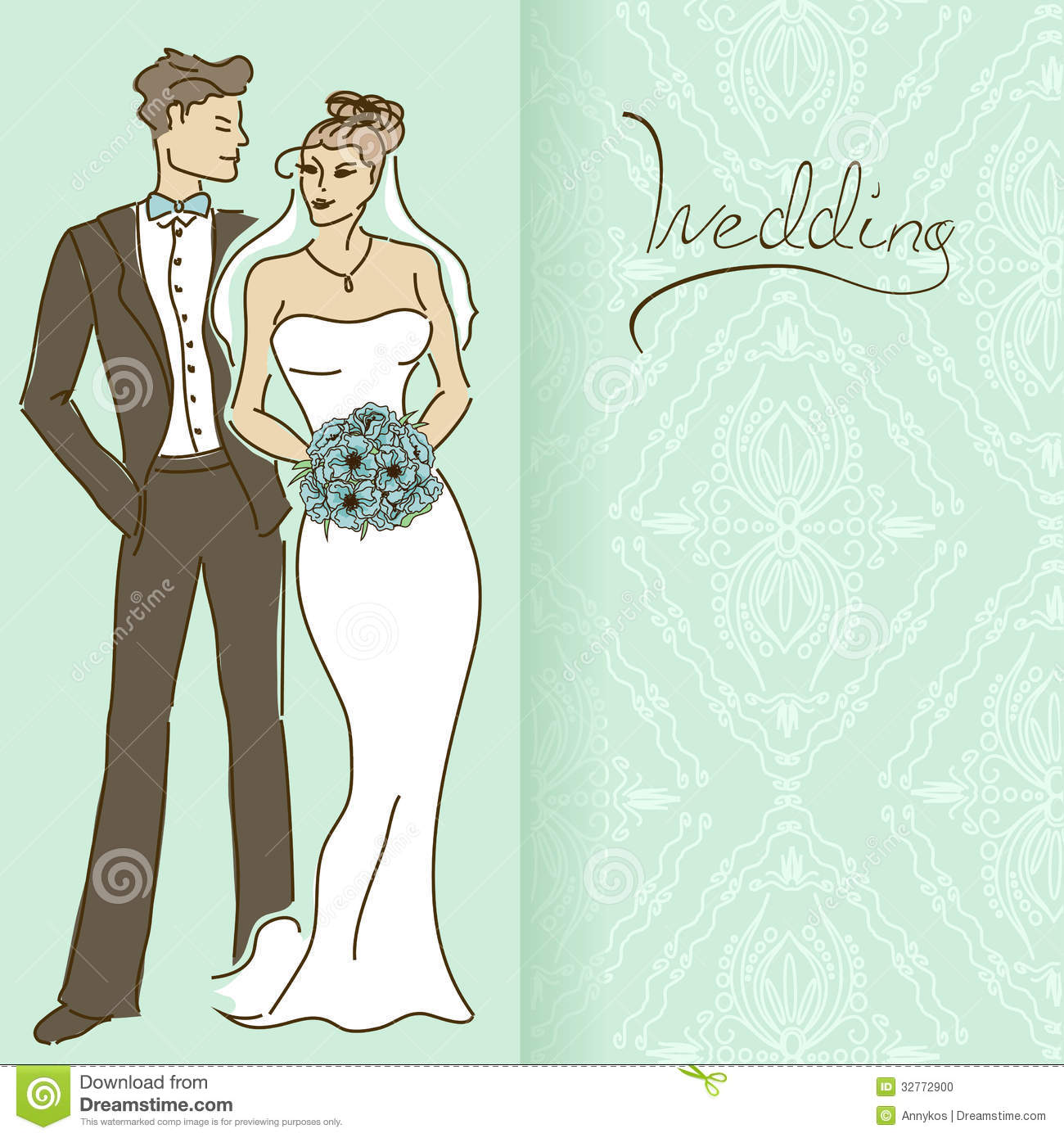 wedding invitation or card with couple stock vector illustration