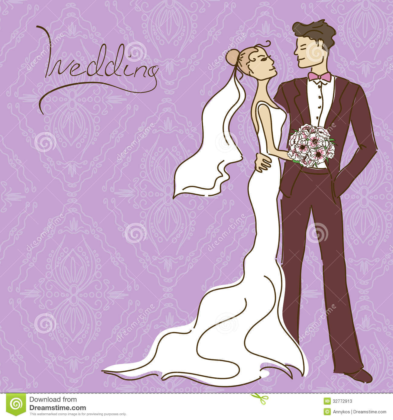 Wedding Invitation Or Card With Couple Stock Photos - Image: 32772913