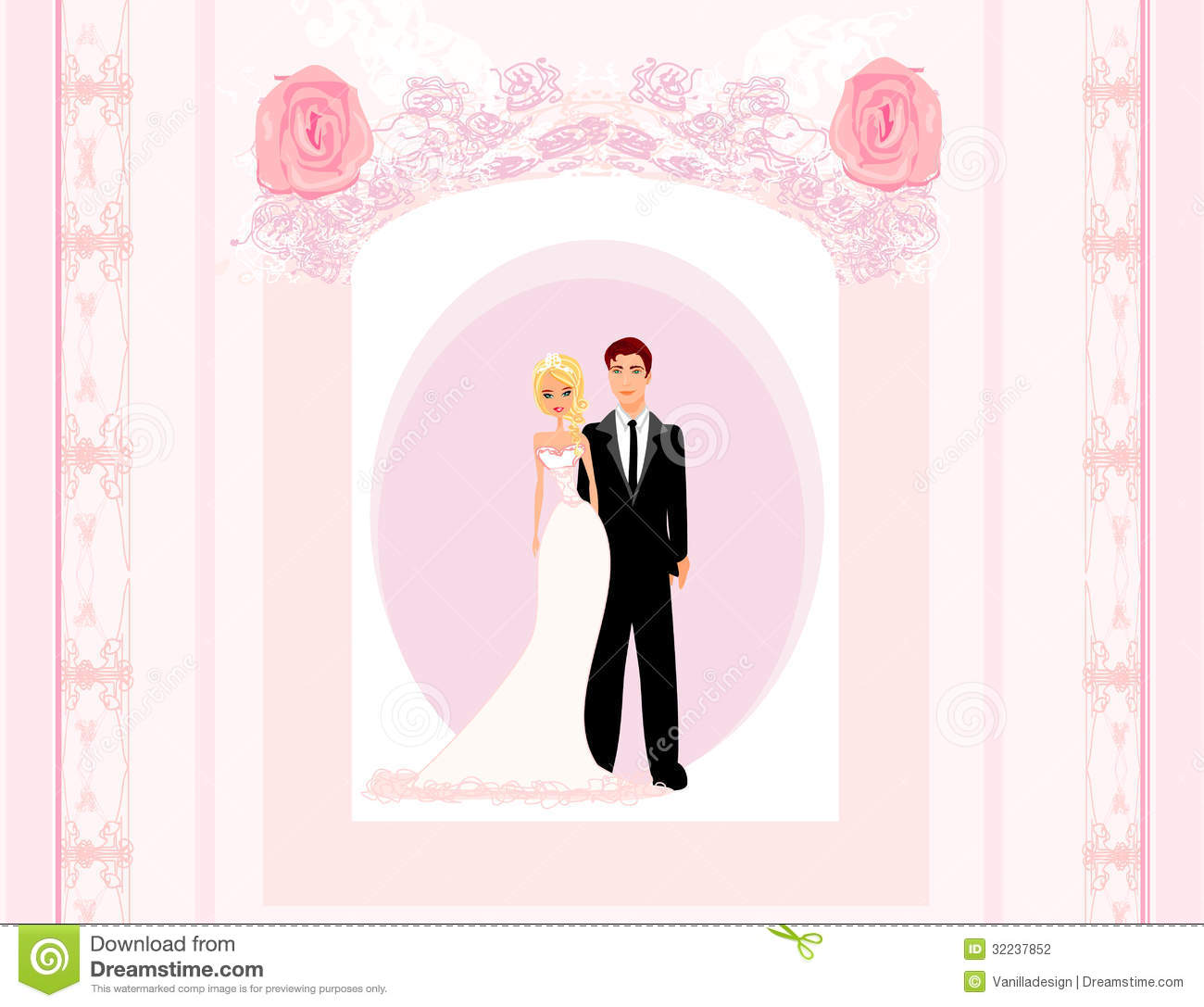 Wedding Invitation Card With A Cute Couple Stock ...