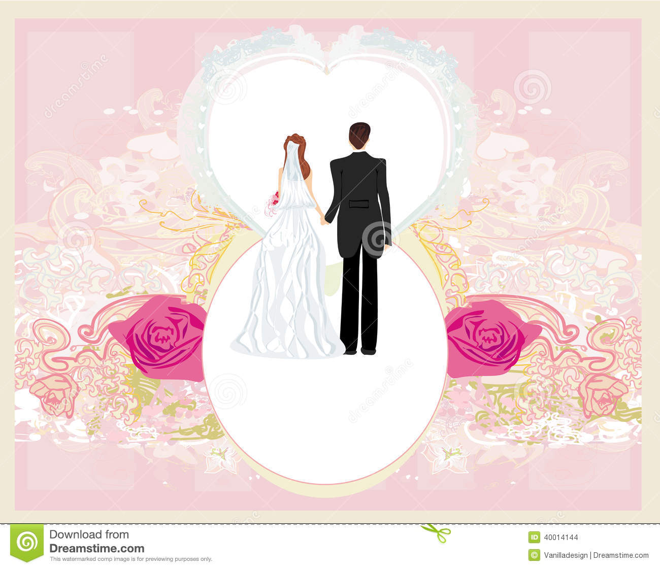 Wedding Invitation Card With A Cute Couple Stock Vector ...