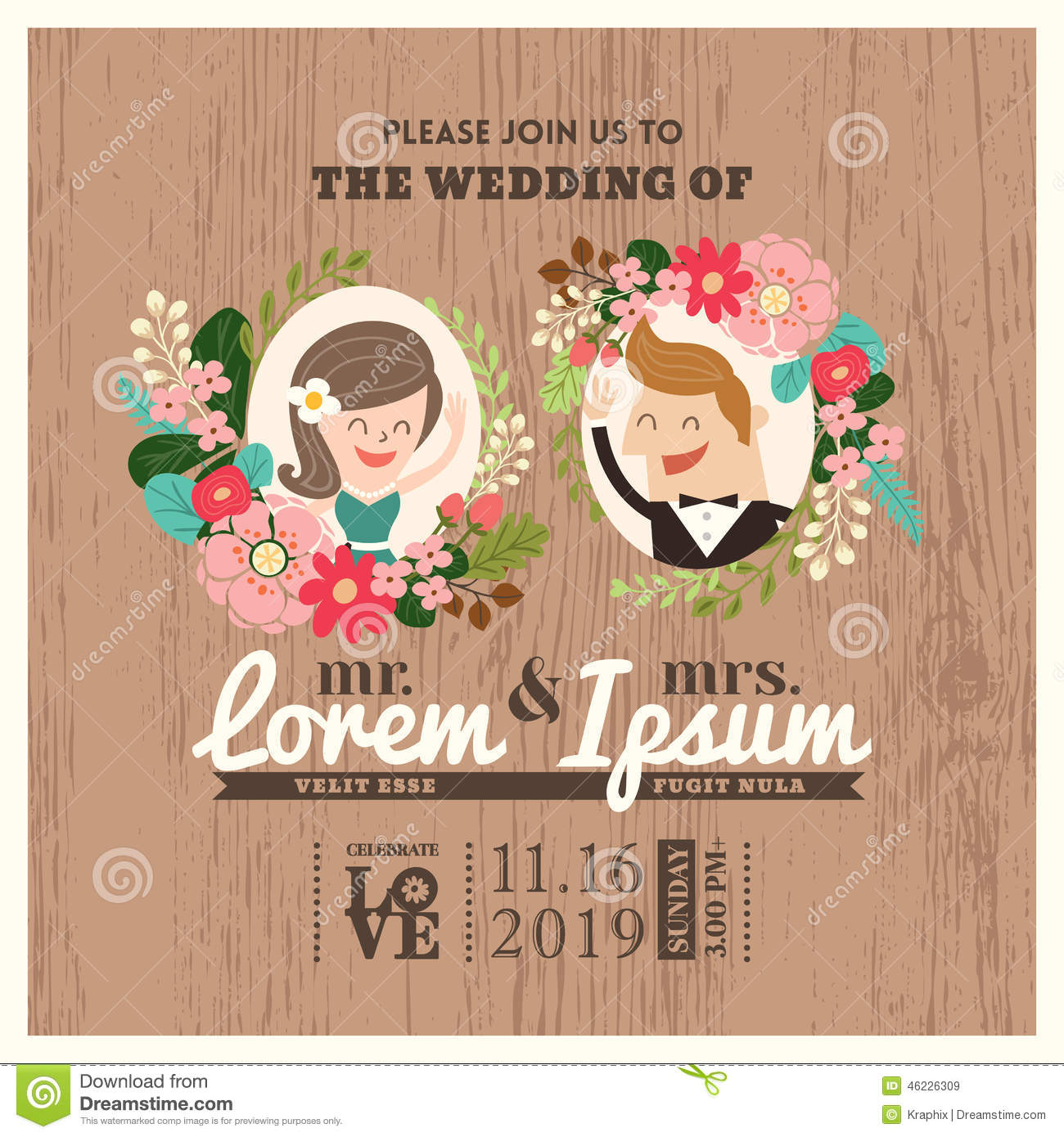 Vintage Wedding Invitation Card With Cute Flourish Background Stock