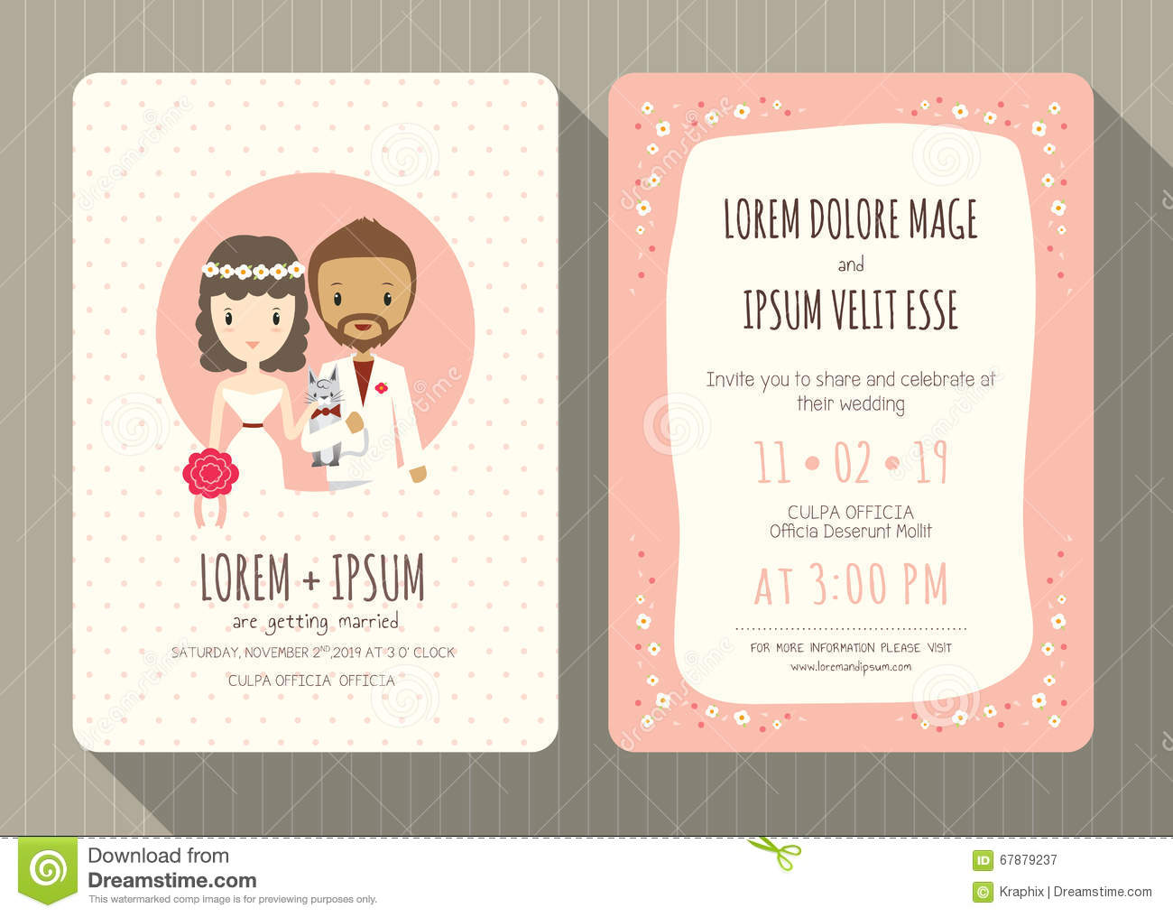 Wedding Invitation Card With Cute Groom And Bride Cartoon Stock ...