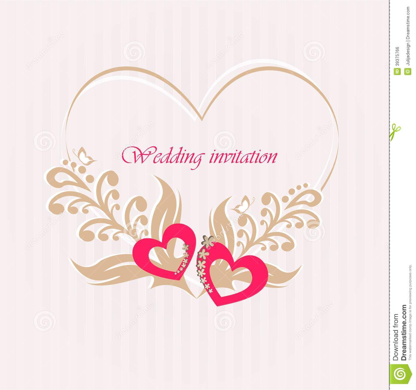 wedding invitation card with decorative hearts stock vector