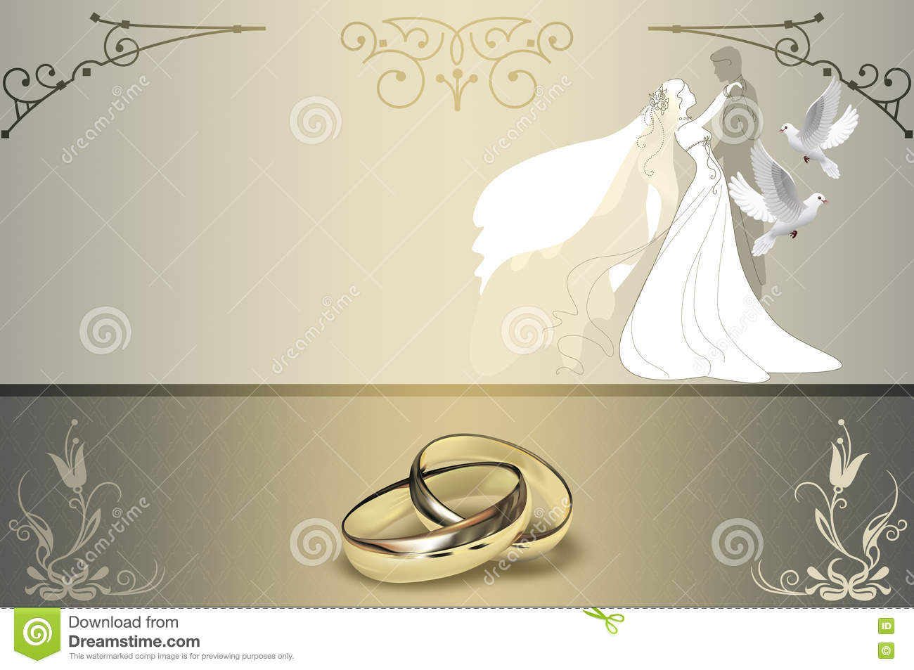 Free Wedding Invitation Background Designs: Wedding Invitation Card Design. Stock Illustration