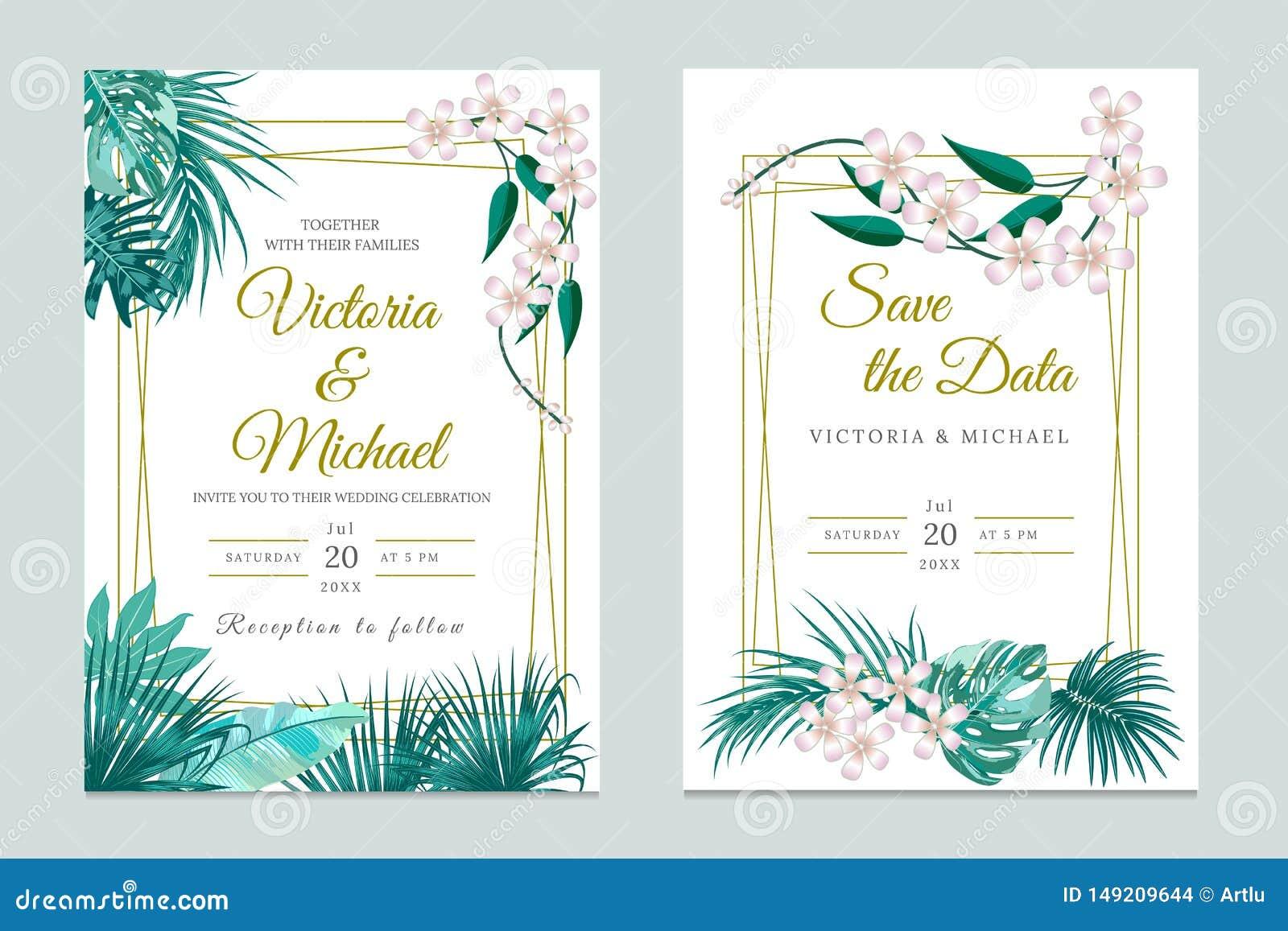 Wedding Invitation Card Design, Floral Invite. Tropical Jungle ...