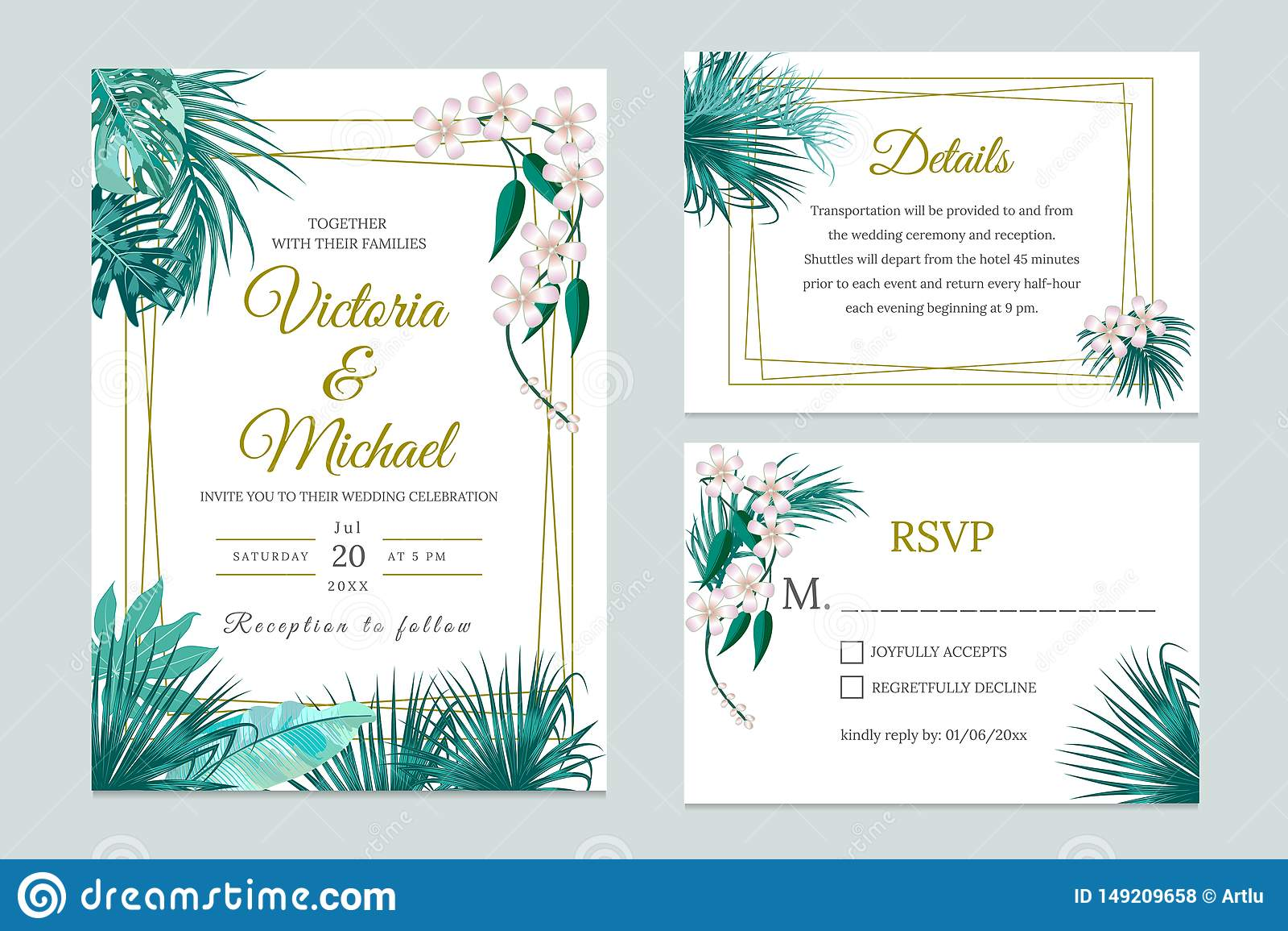 Wedding Invitation Card Design, Floral Invite. Tropical Jungle Leaves  Elegant Frame Set Stock Vector - Illustration of date, isolated: 149209658