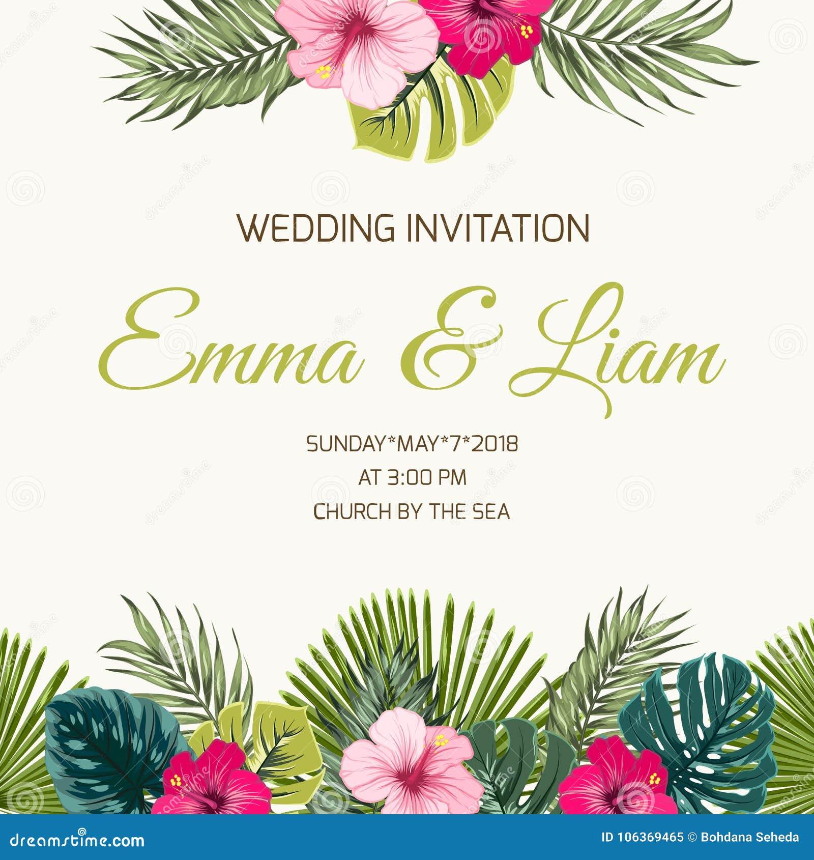 Wedding Invitation Tropic Leaves Hibiscus Greenery Stock Vector