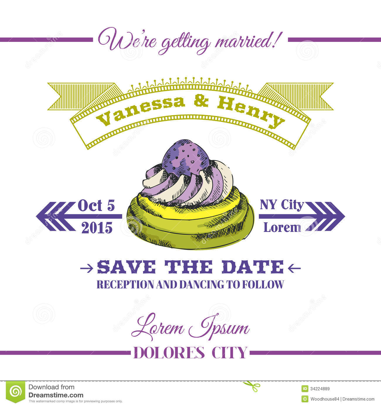 Wedding Invitation Card - Dessert Cake Theme - in .