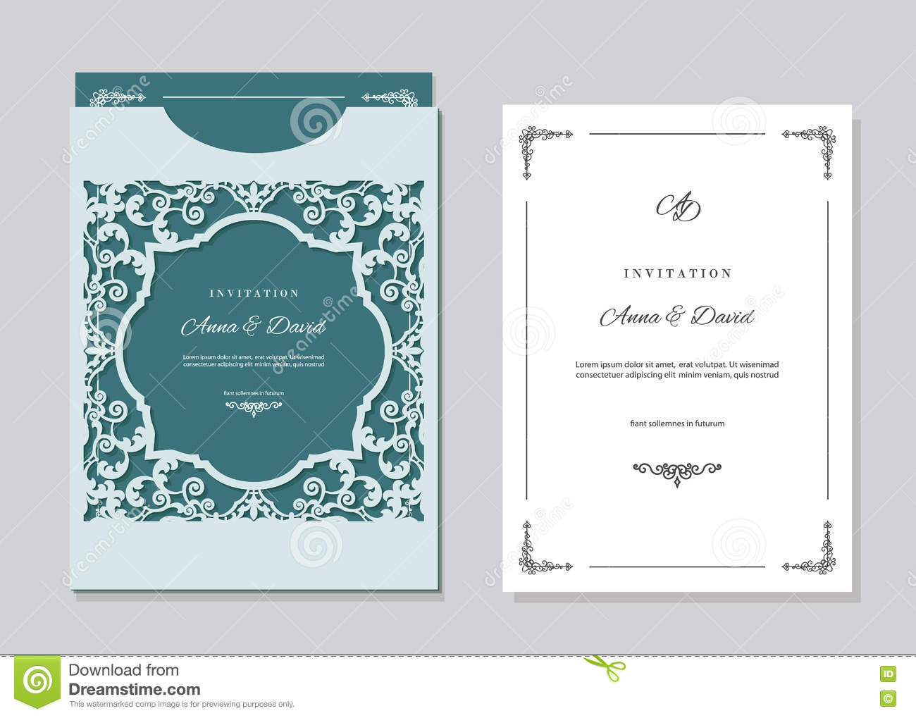 Wedding Invitation Card And Envelope Template With Laser Cutting ...
