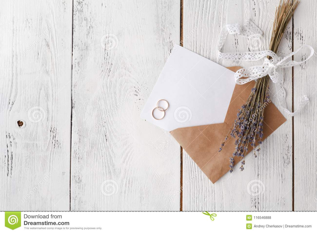 Wedding Invitation Card With Envelope On Wooden Table Stock Photo ...