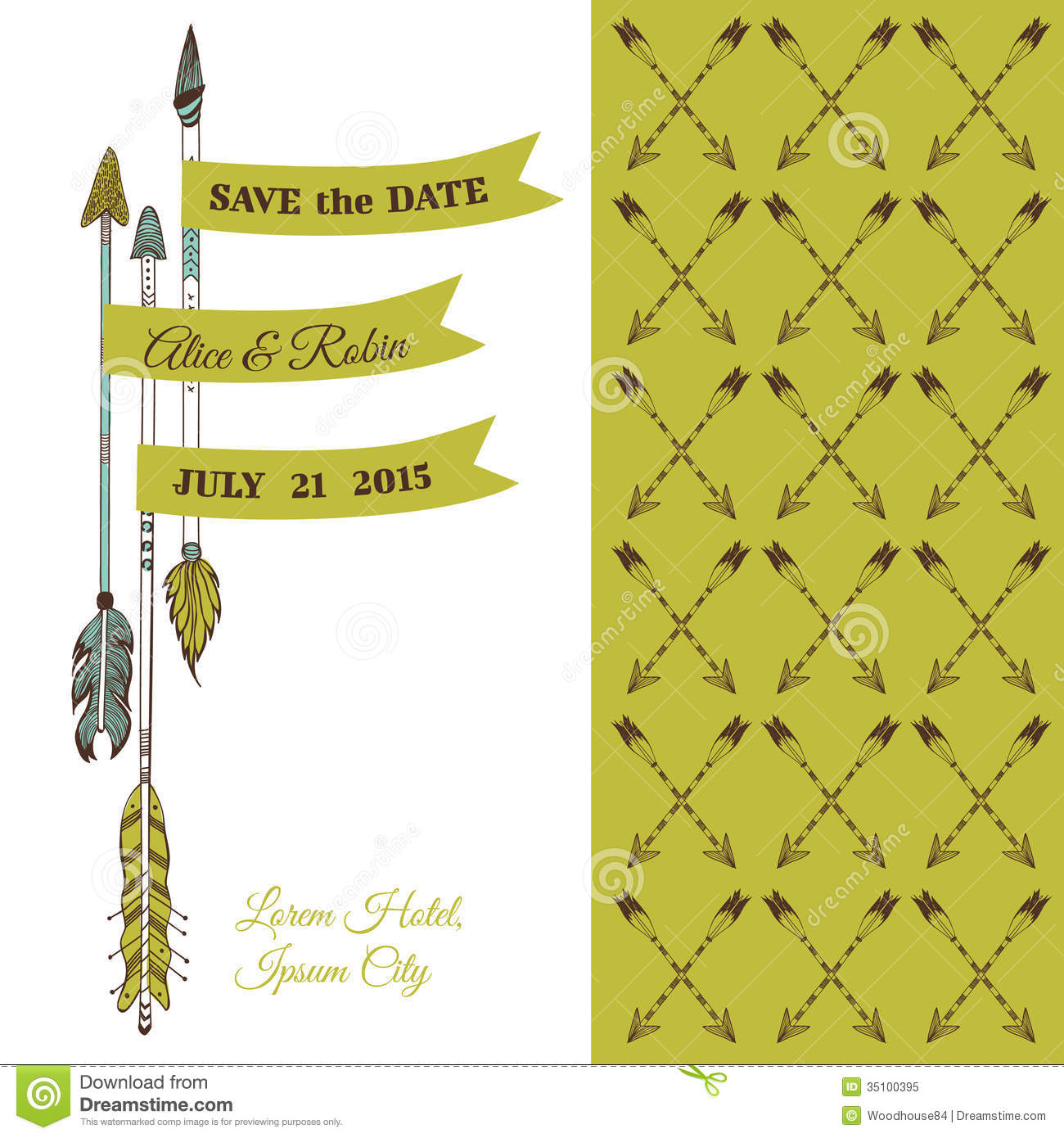 Wedding Invitation Card - Feather Arrows and Heart Theme - in .