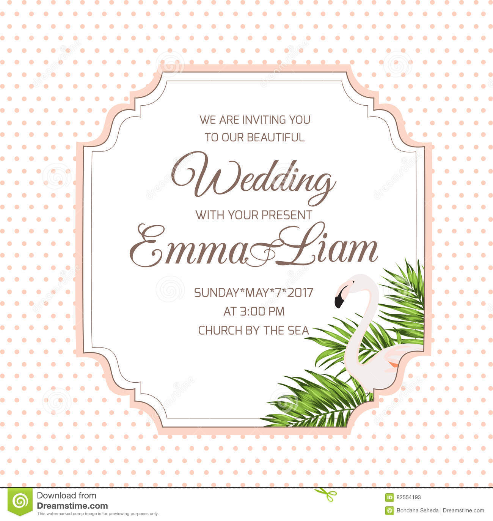 wedding invitation card flamingo tropical leaves stock illustration