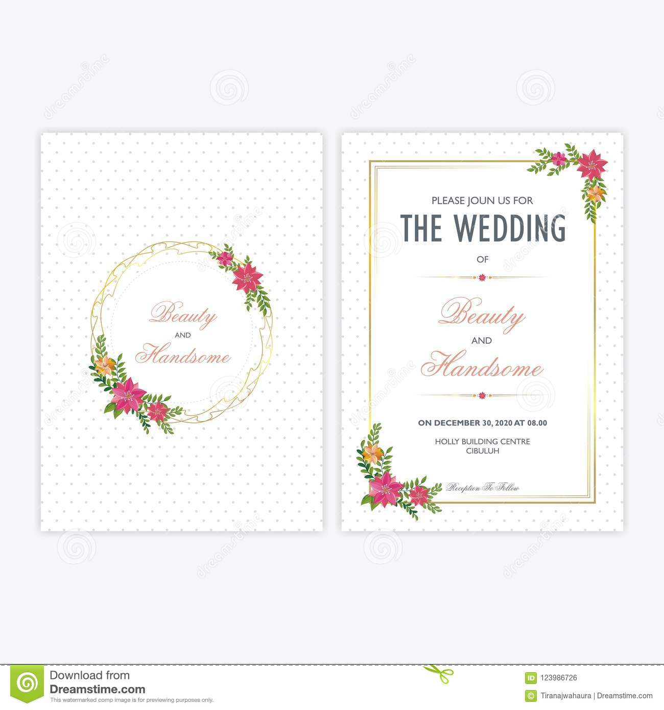 Trendy Wedding Invitation Cards: Wedding Invitation Card With Floral Ornaments Stock Vector