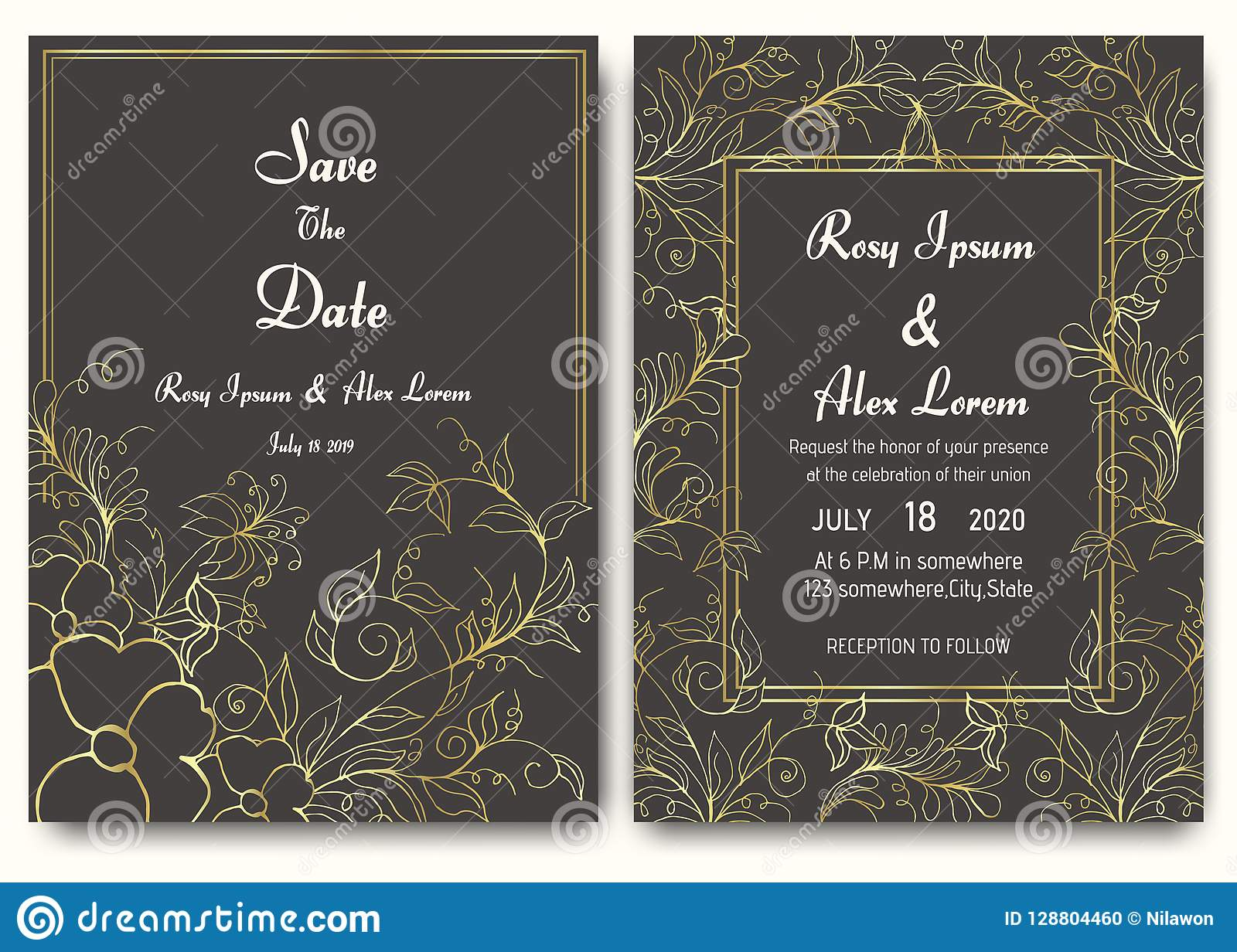 Wedding Invitation Card Floral Template Collection Stock