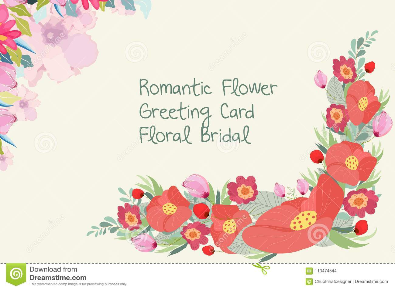 Wedding Invitation Card With Flower Templates On White Background ...