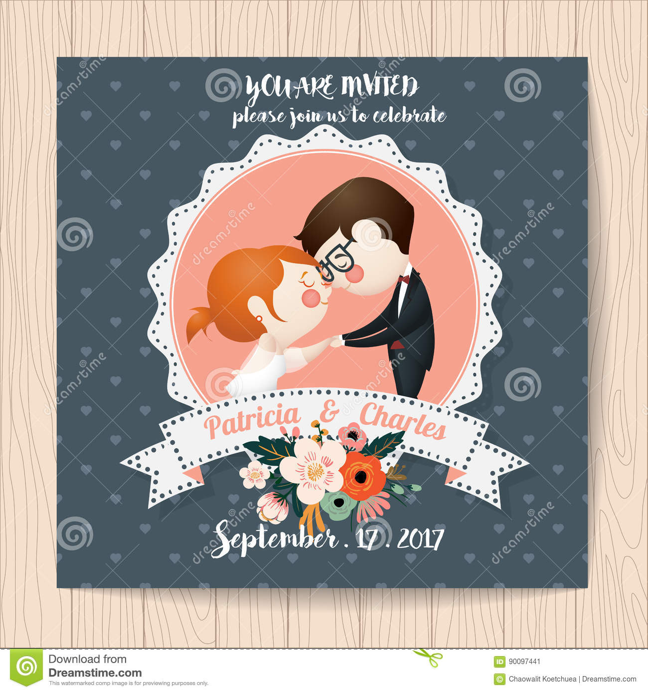 Wedding Invitation Card With Flower Templates And Cartoon