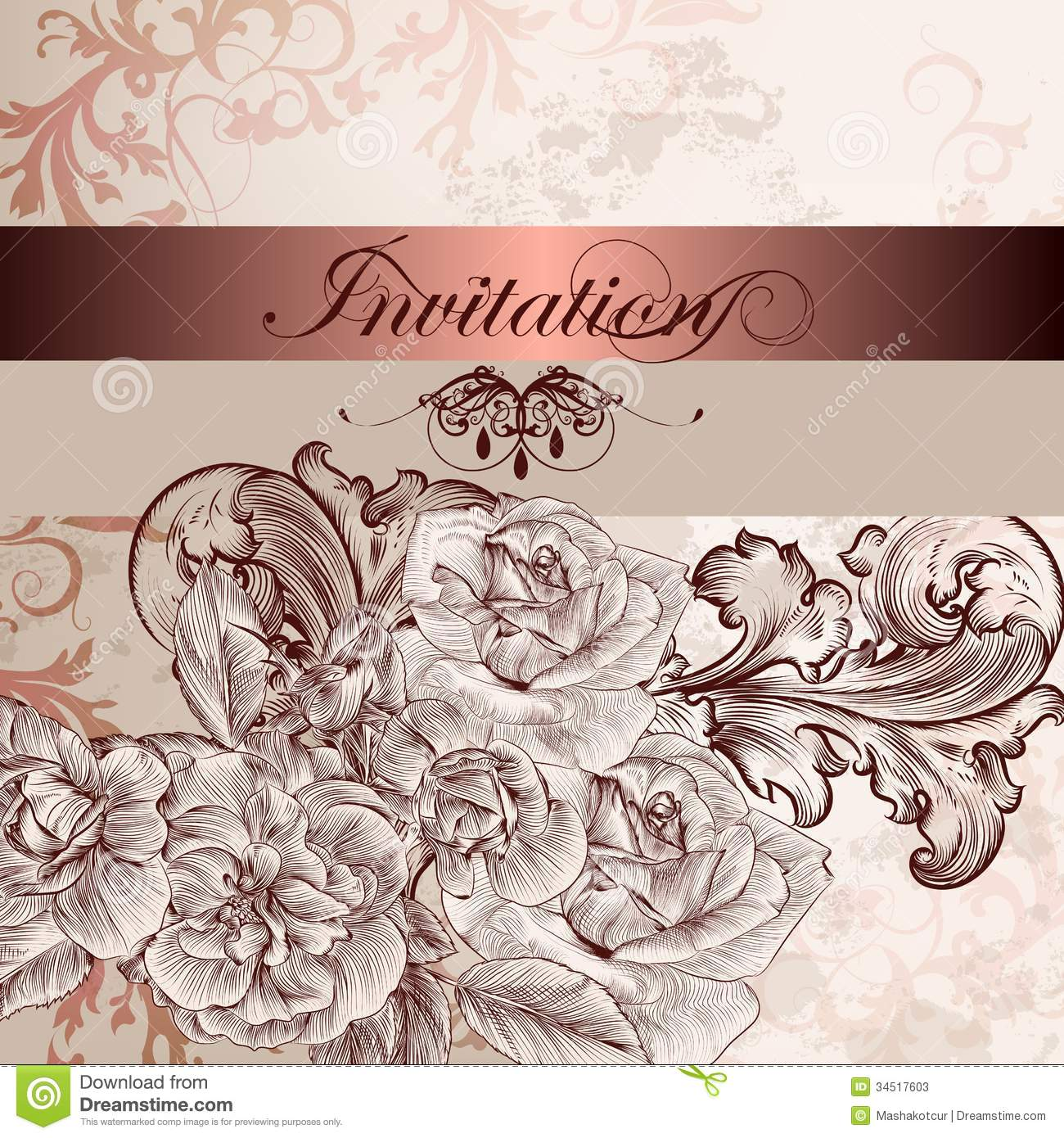 Wedding Invitation Card With Flowers For Design Stock Vector