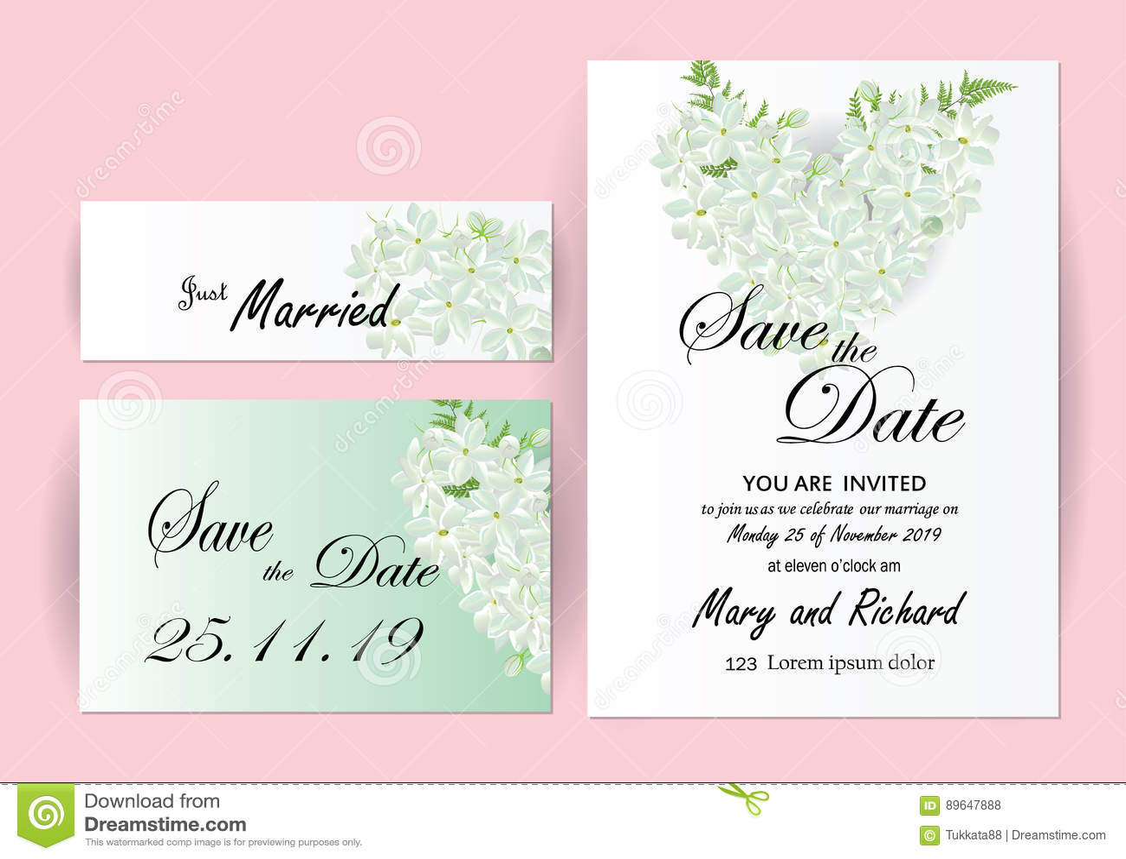 Wedding Invitation Card Flowers,jasmine Stock Vector - Illustration ...