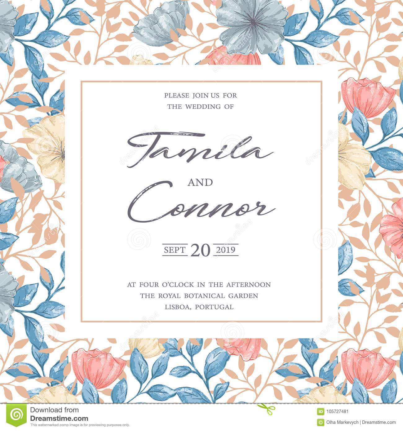 Wedding Invitation Card stock vector. Illustration of retro ...