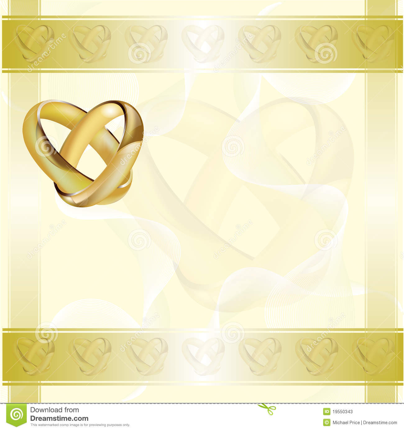 A Wedding Invitation Card With Gold Rings Stock Vector