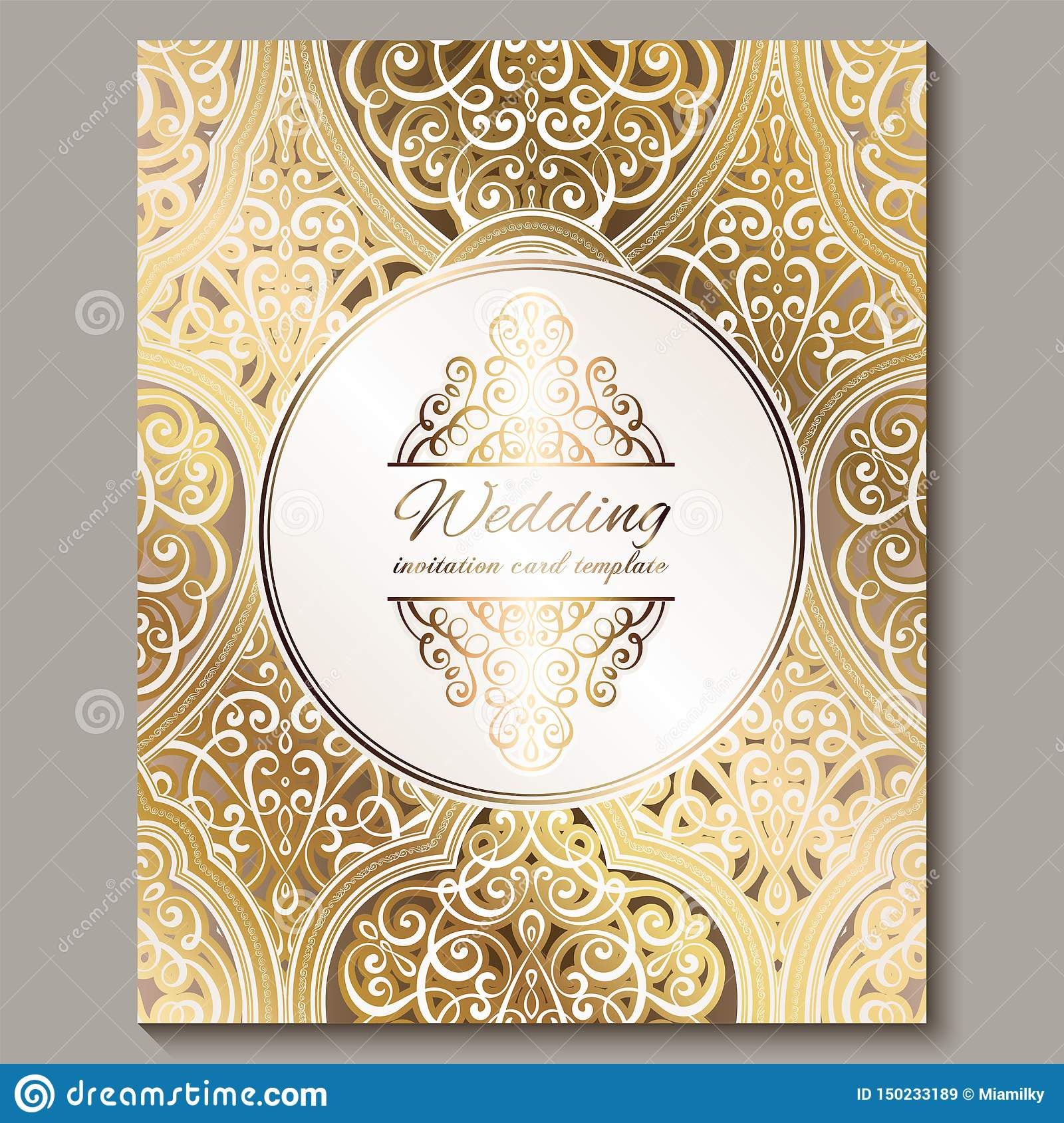 Wedding Invitation Card With Gold Shiny Eastern And Baroque