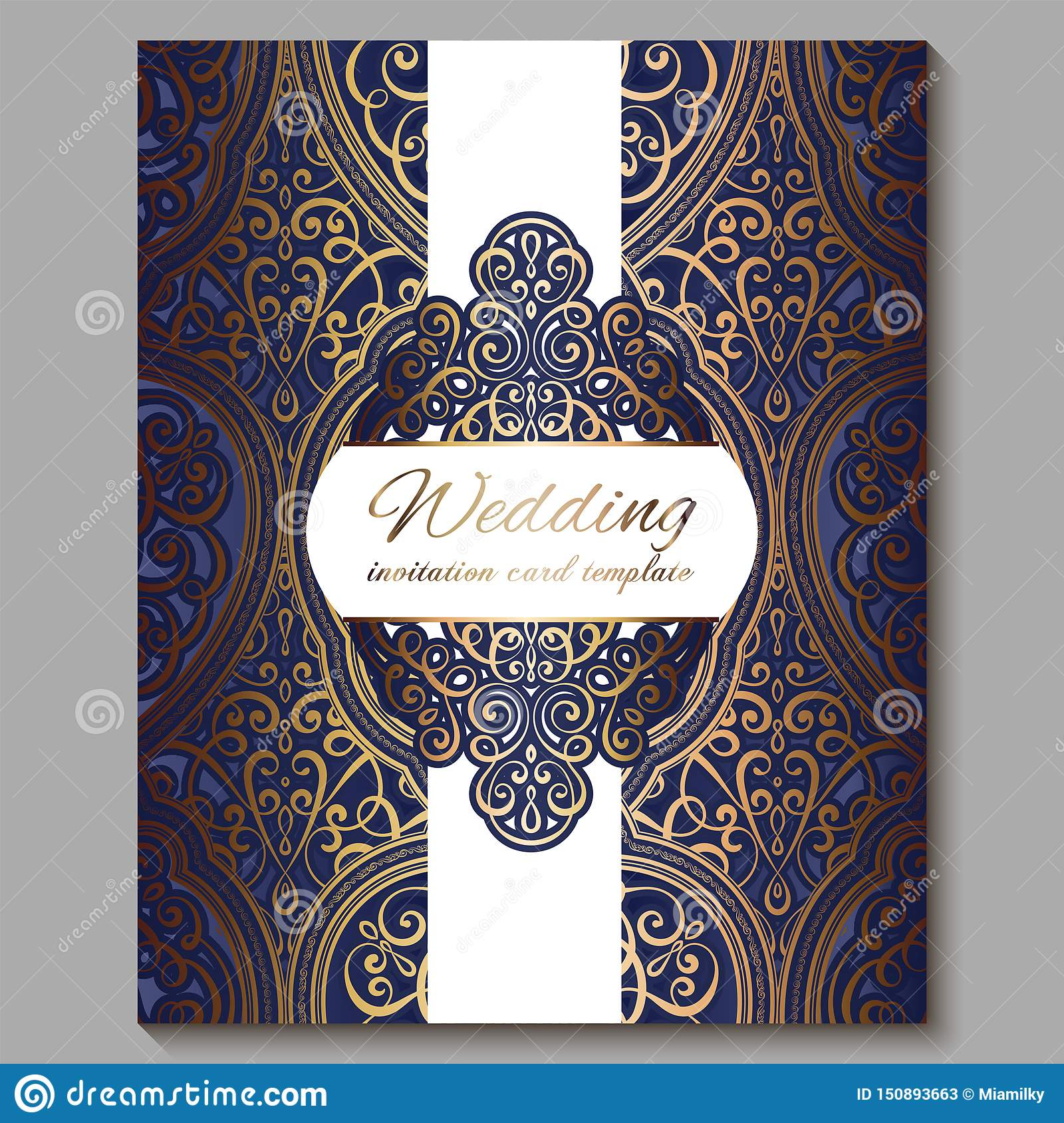 Wedding Invitation Card With Gold Shiny Eastern And Baroque Rich Foliage Royal Blue Ornate Islamic Background For Your Design Stock Illustration Illustration Of Classic India 150893663