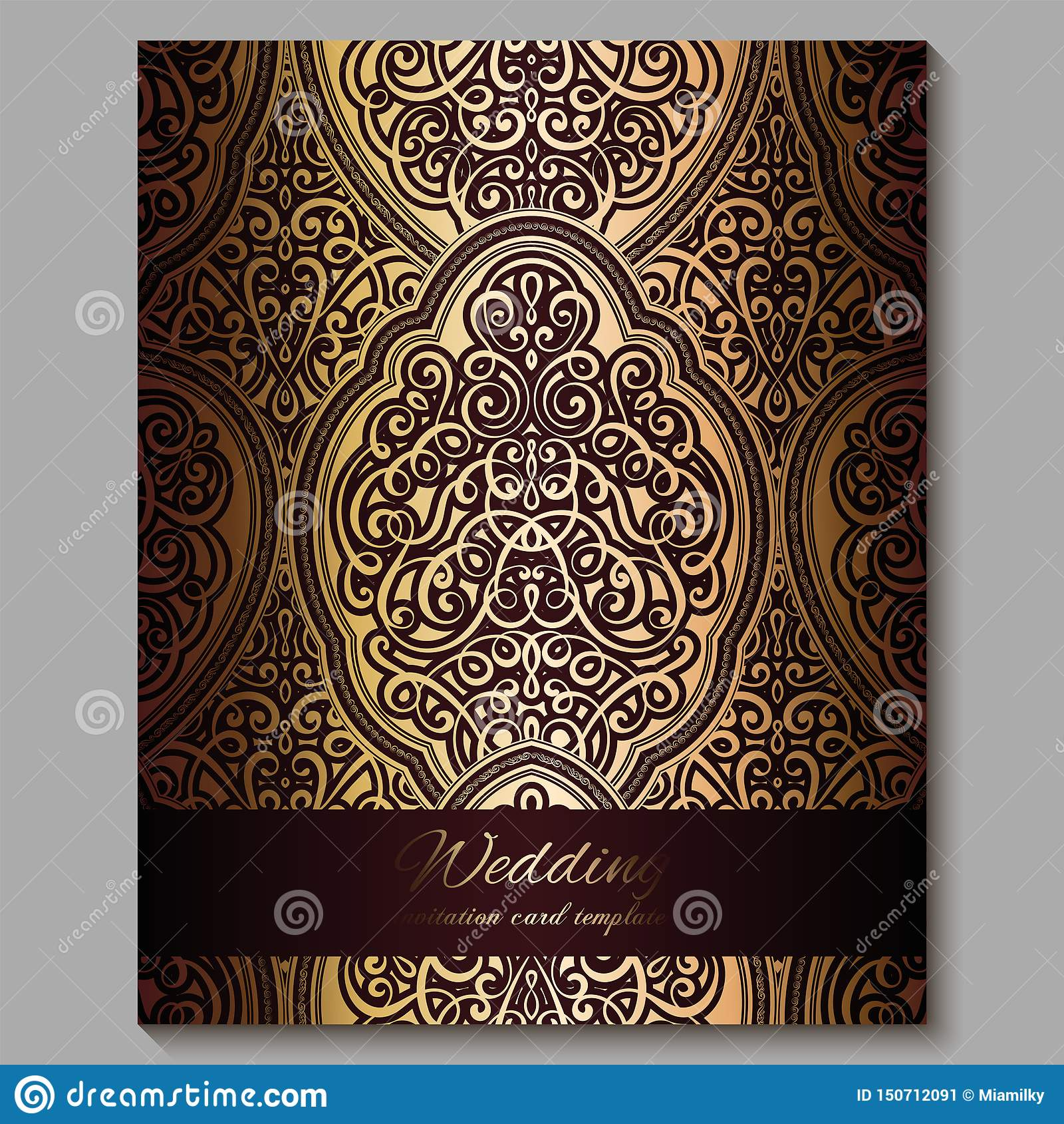 Wedding Invitation Card With Gold Shiny Eastern And Baroque Rich Foliage Royal Red Ornate Islamic Background For Your Design Stock Illustration Illustration Of Frame Antique 150712091