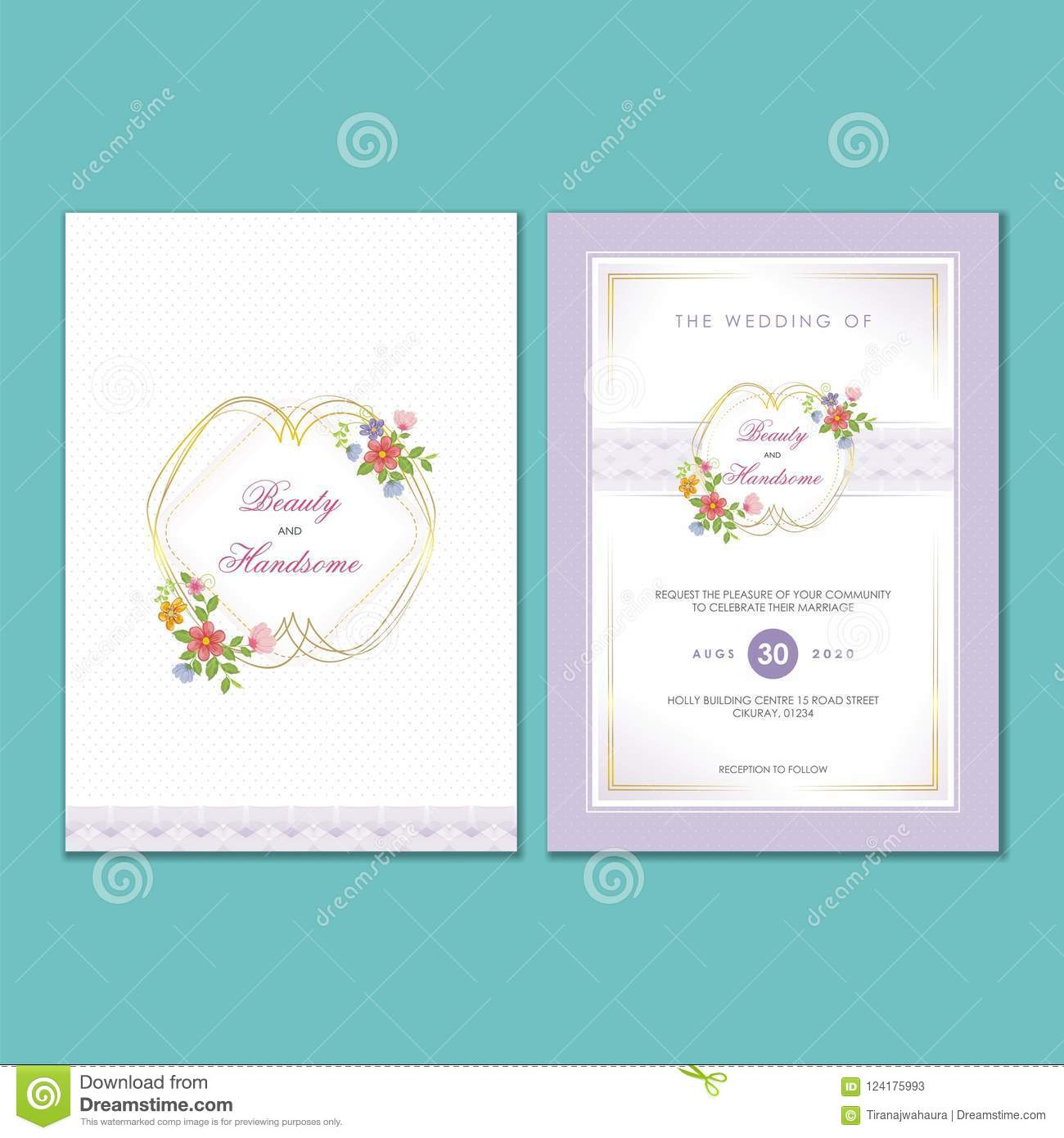 Wedding Invitation Card With Floral Ornaments Stock Vector