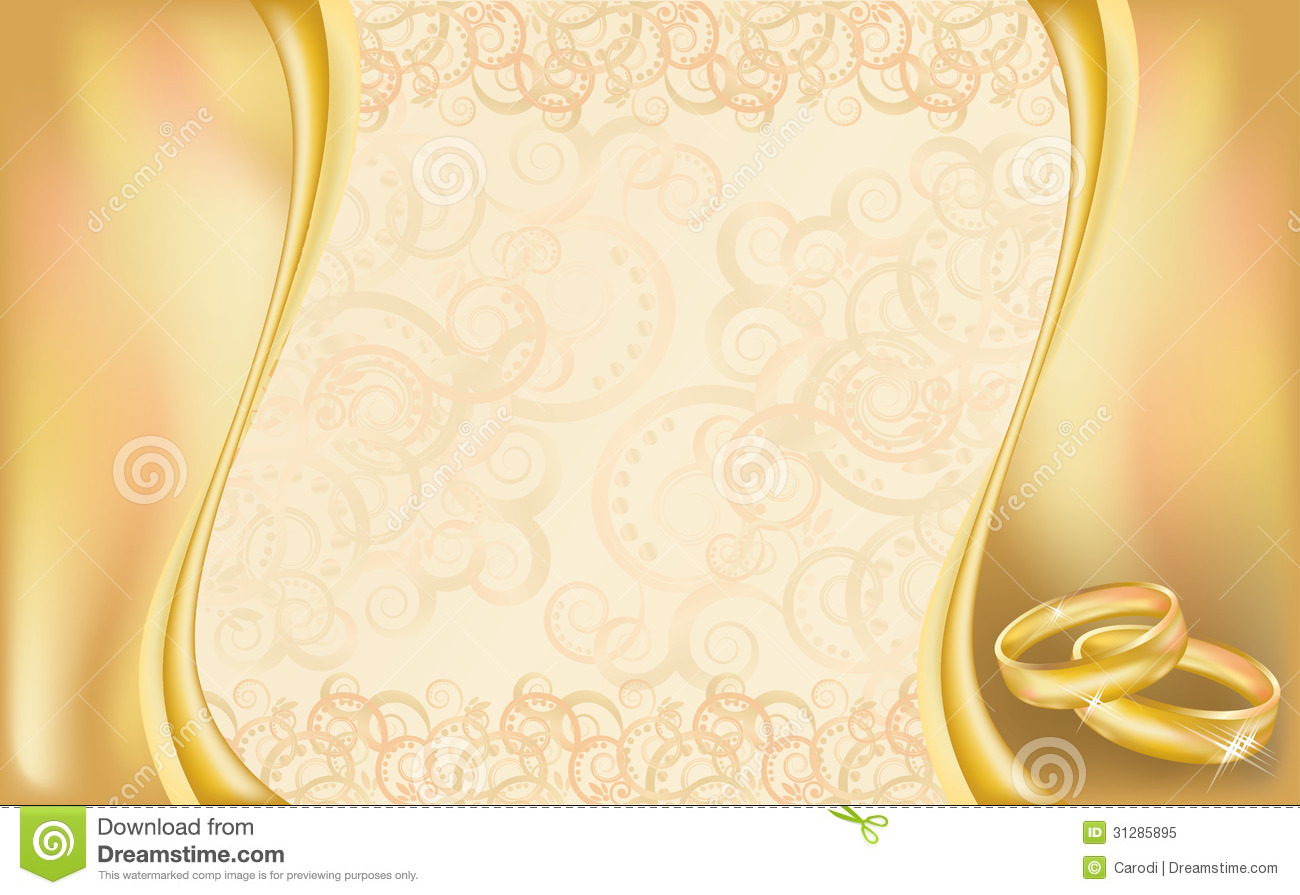 Wedding Invitation Card With Golden Rings And Flor Royalty Free Stock ...