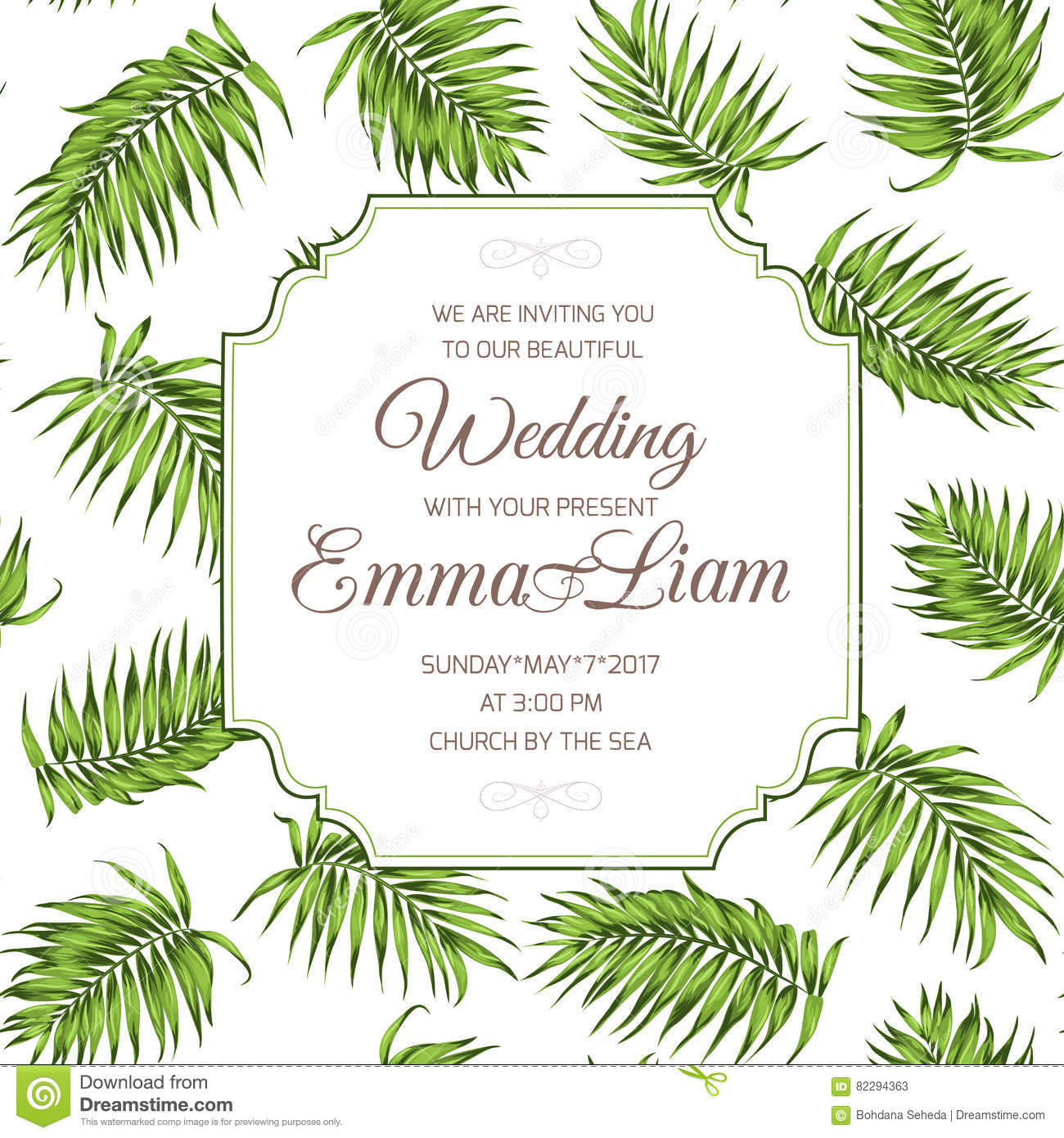 wedding invitation card greenery palm leaves rsvp stock