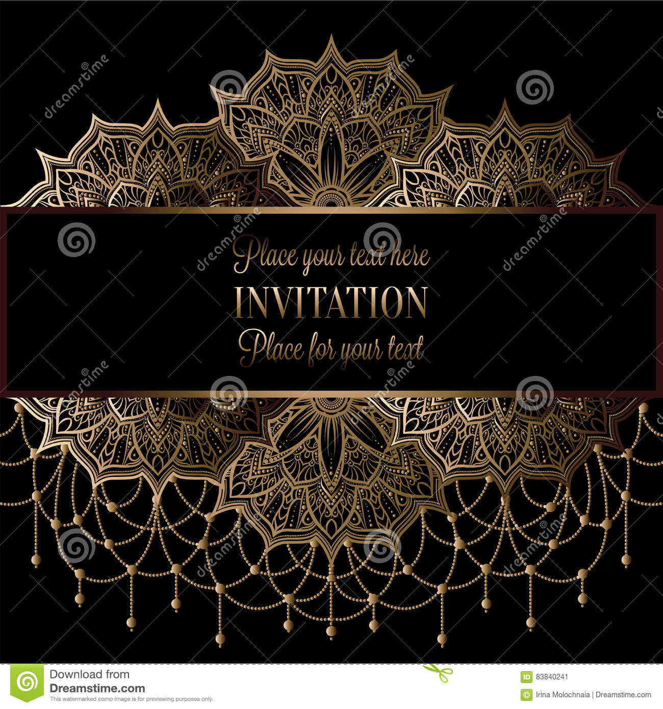 Wedding Invitation Or Card Intricate Mandala With Beads Background Stock Vector Illustration Of Festive Ethnic 83840241