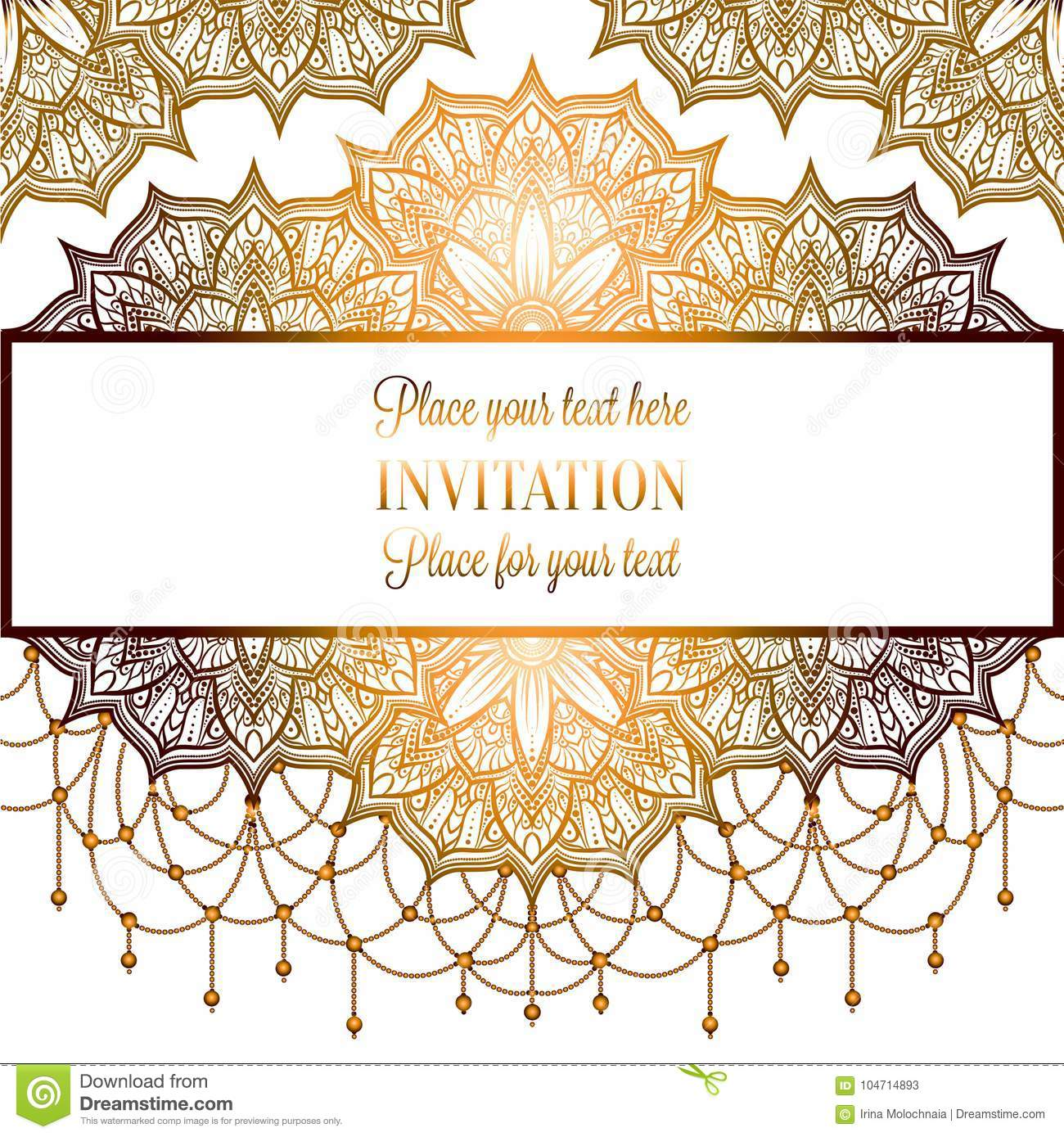 Wedding Invitation Or Card , Intricate Mandala With Beads On White ...