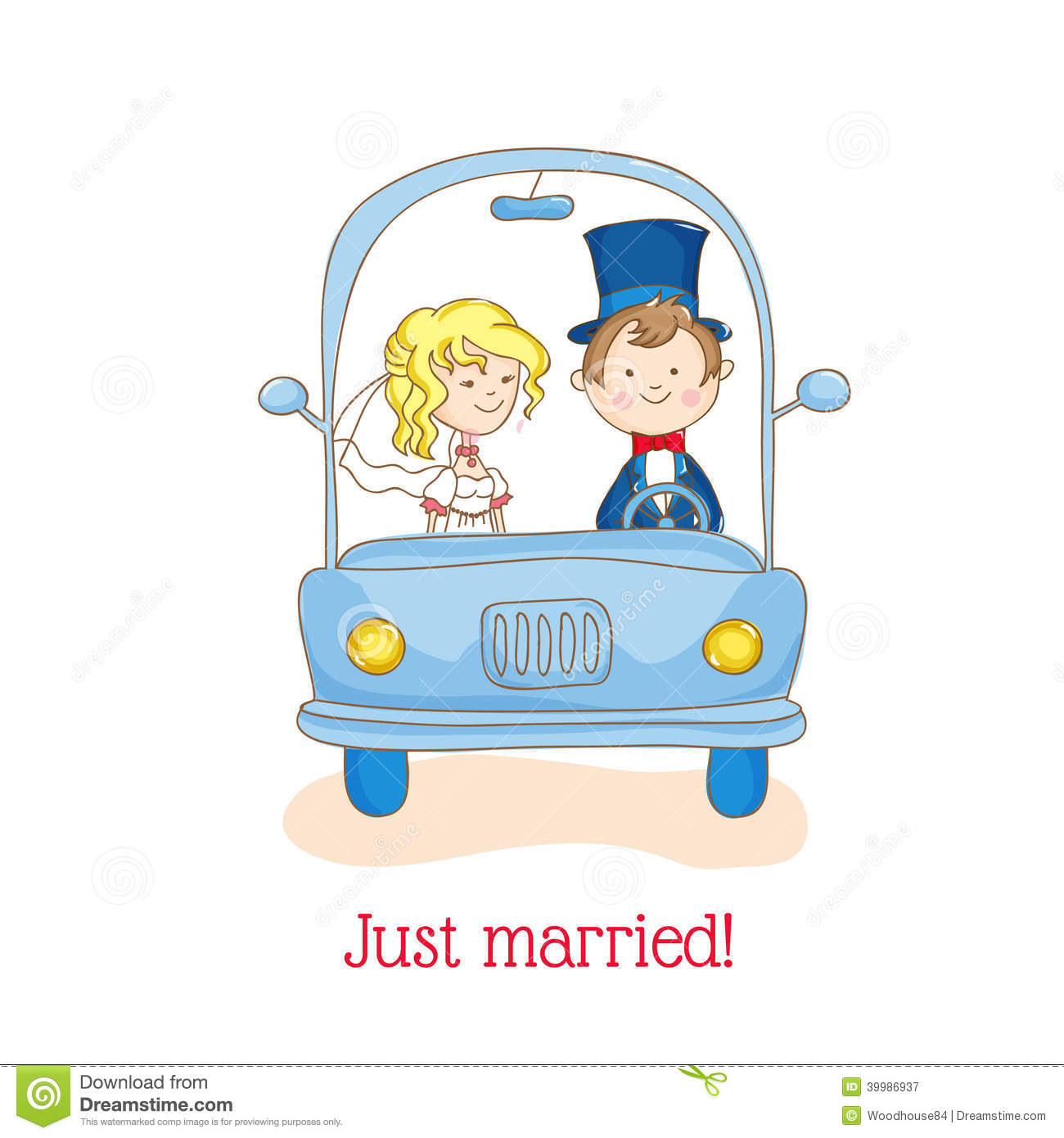 Wedding Invitation Card - Just Married Car Theme - in vector.